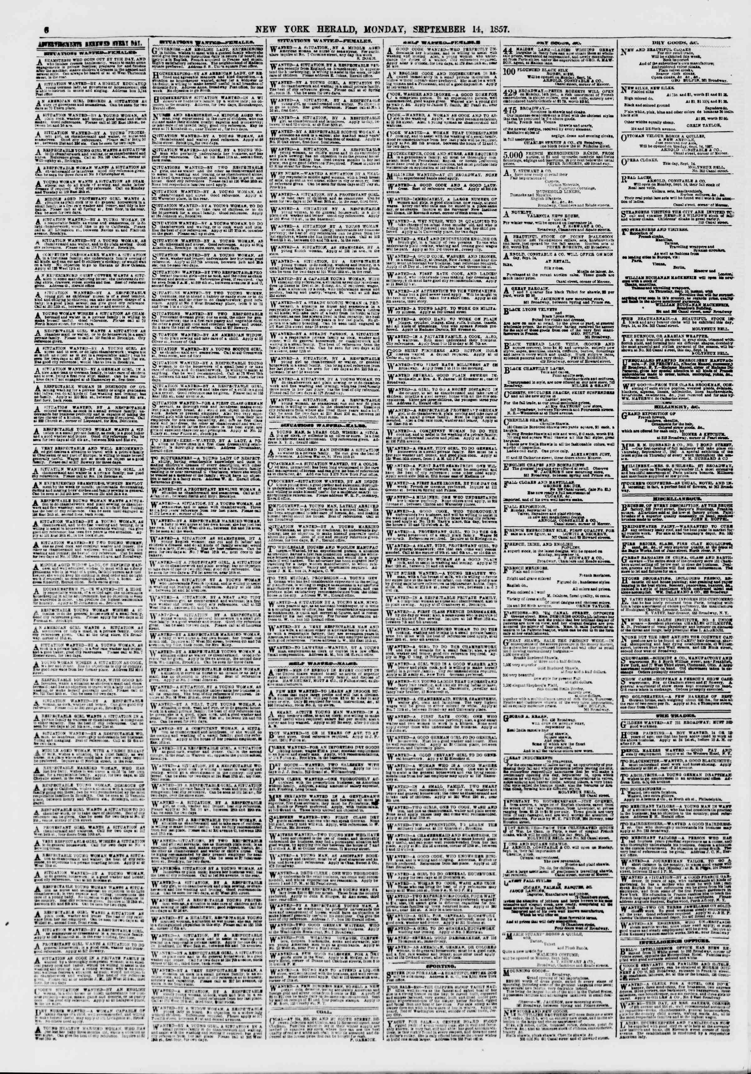 Newspaper of The New York Herald dated September 14, 1857 Page 6