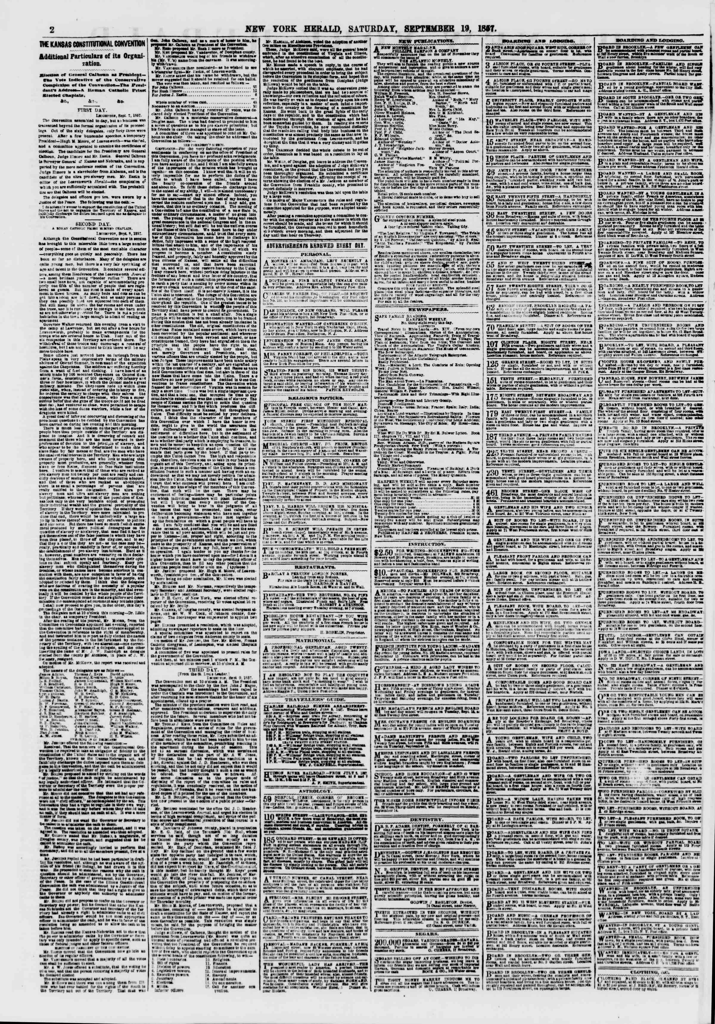 Newspaper of The New York Herald dated September 19, 1857 Page 2