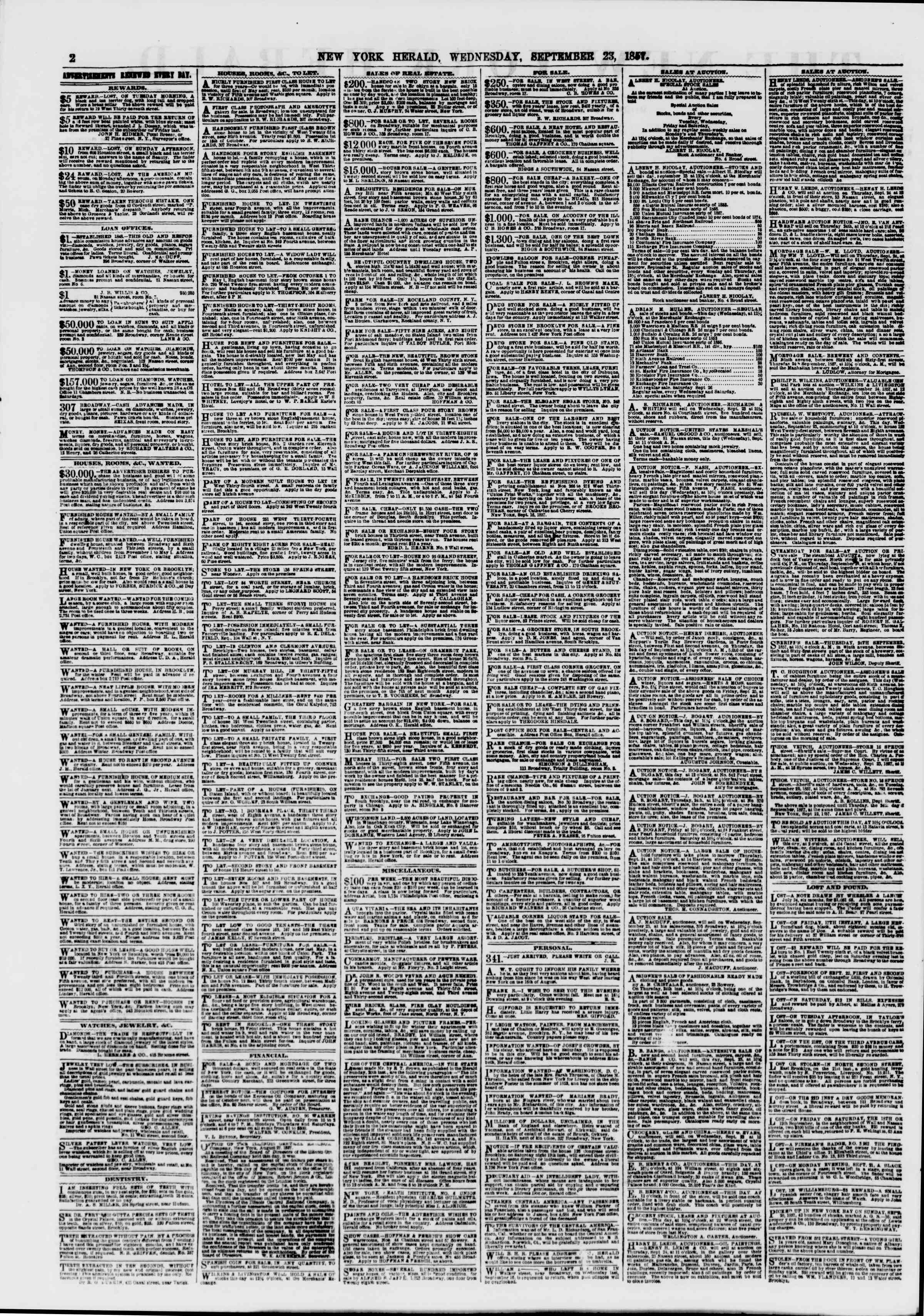Newspaper of The New York Herald dated September 23, 1857 Page 2