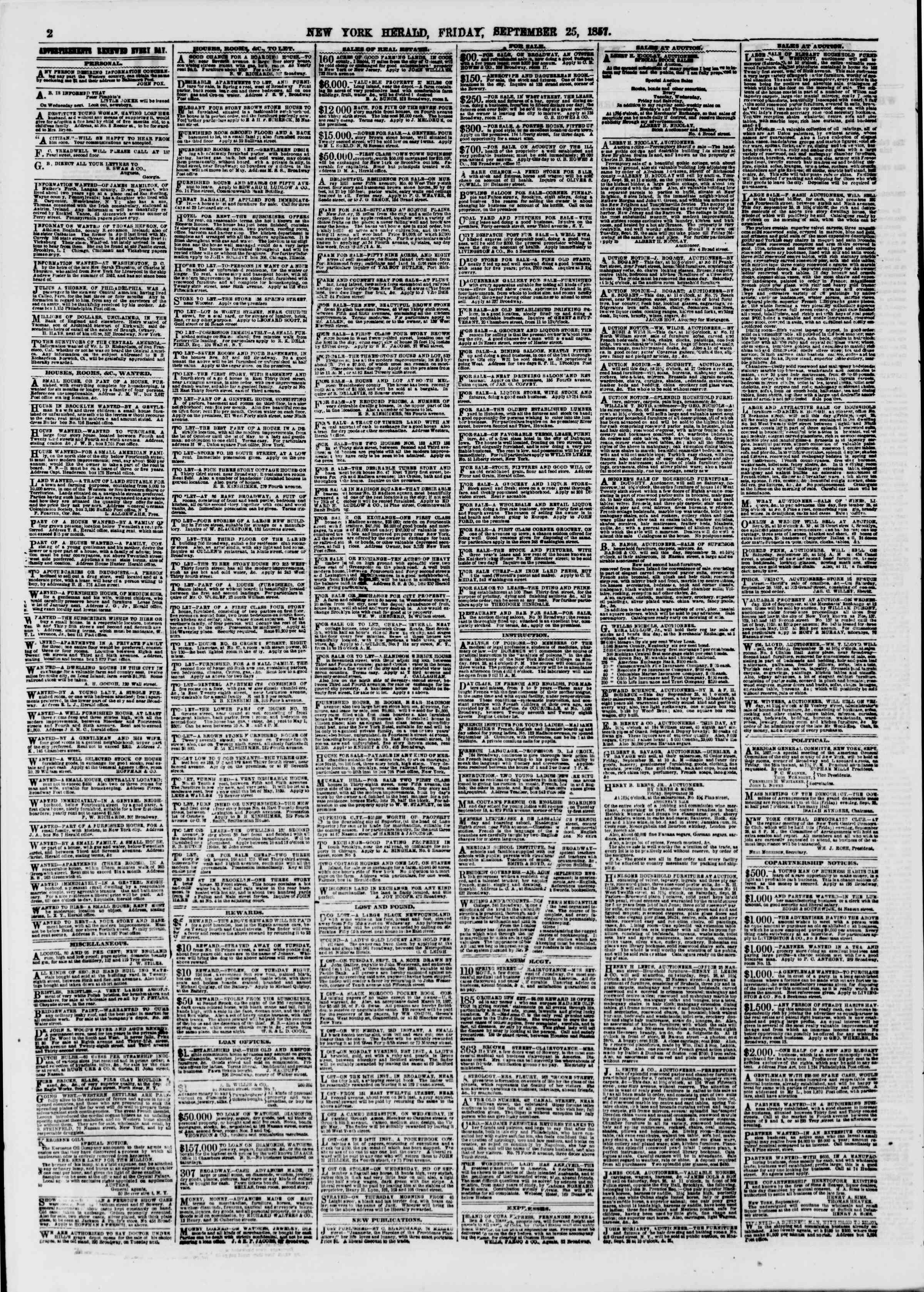 Newspaper of The New York Herald dated September 25, 1857 Page 2