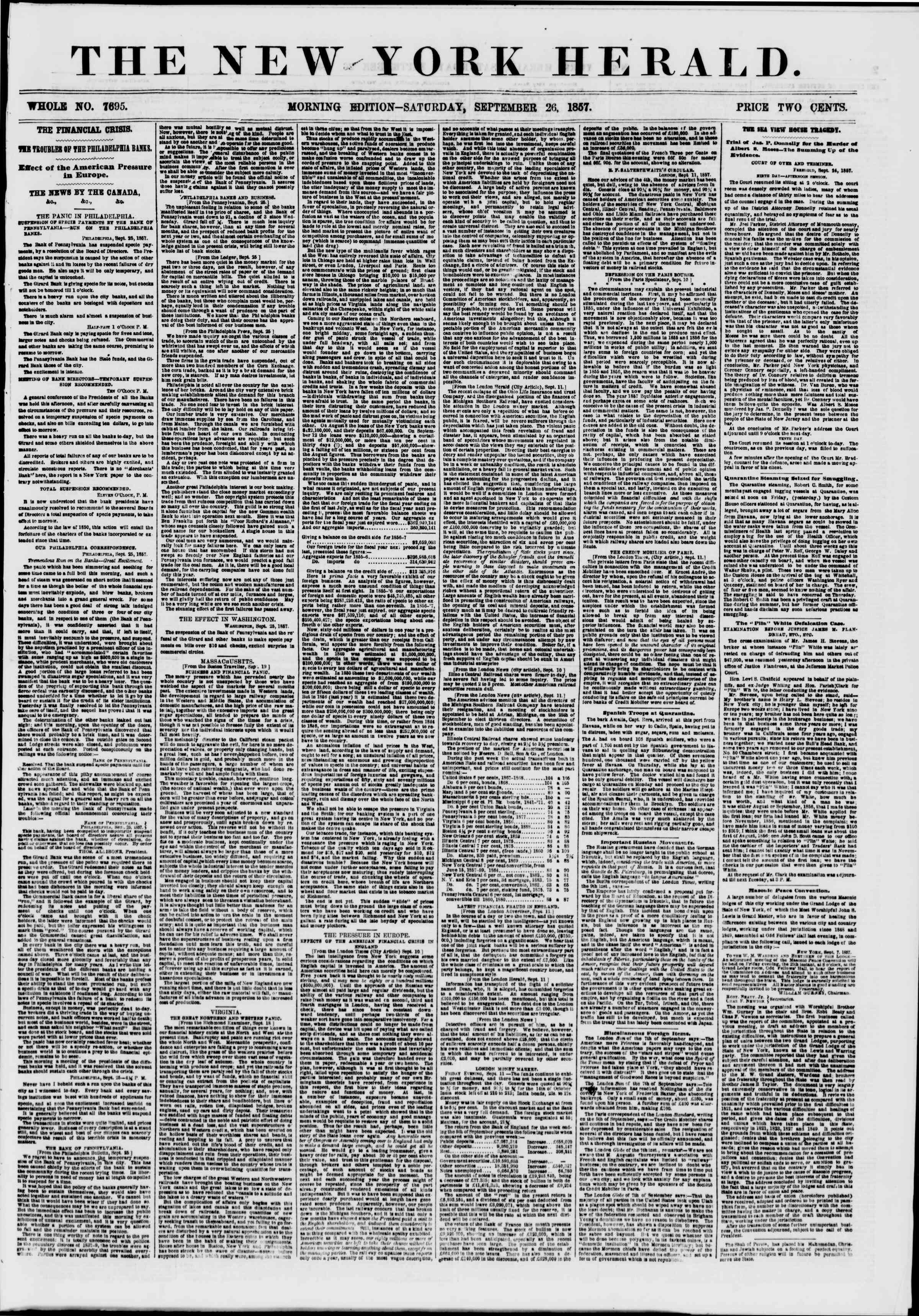 Newspaper of The New York Herald dated September 26, 1857 Page 1