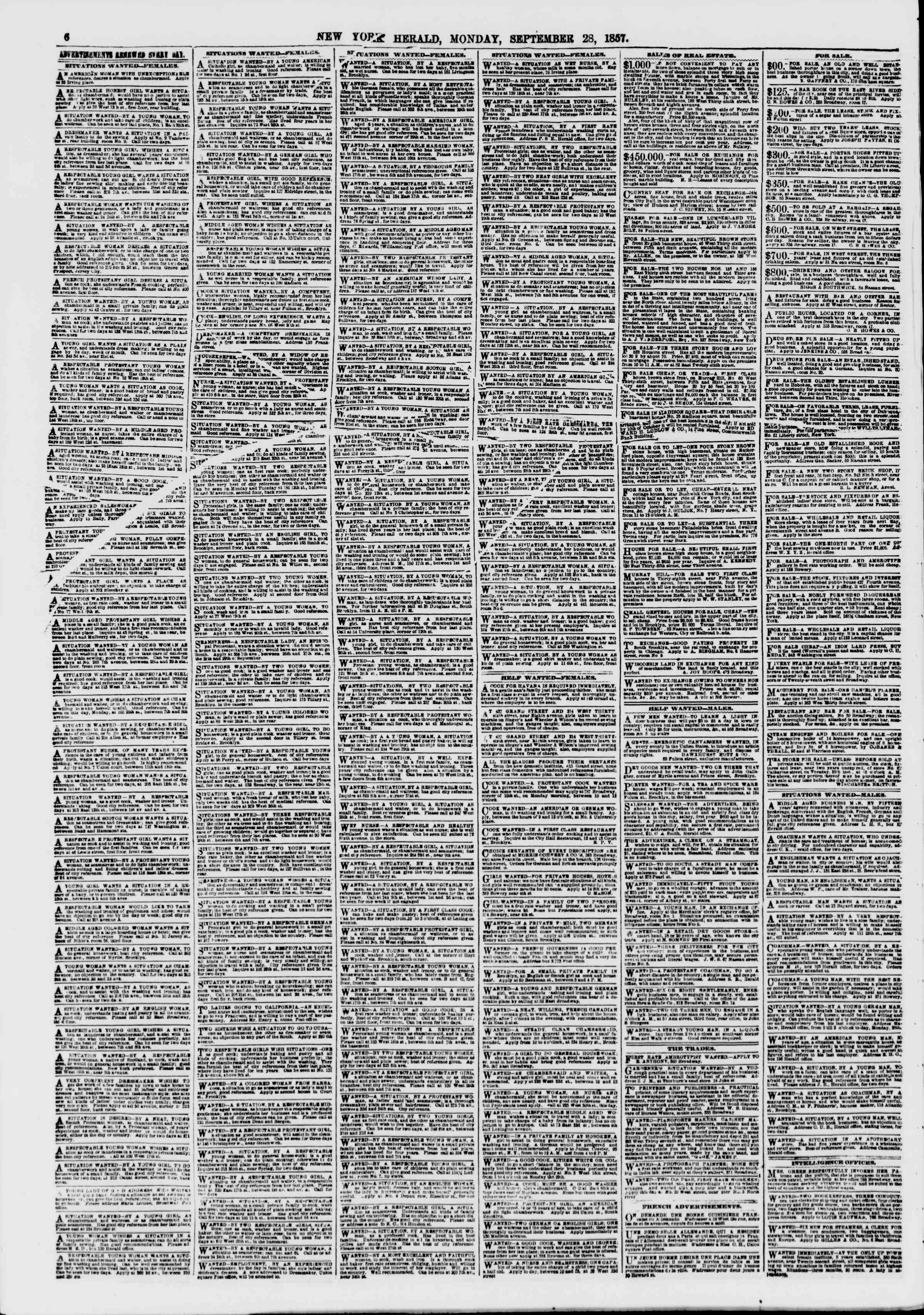 Newspaper of The New York Herald dated September 28, 1857 Page 6