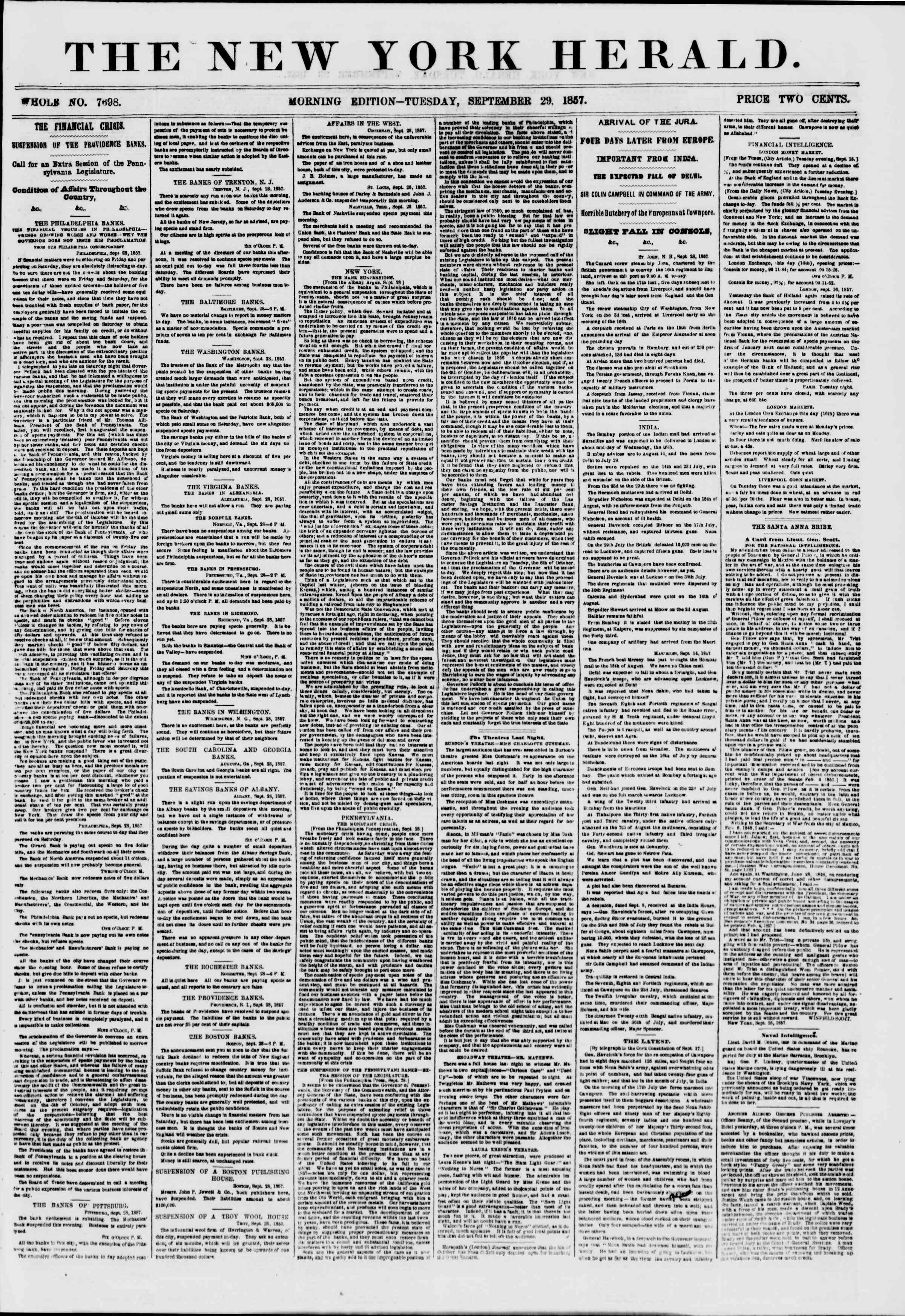 Newspaper of The New York Herald dated September 29, 1857 Page 1