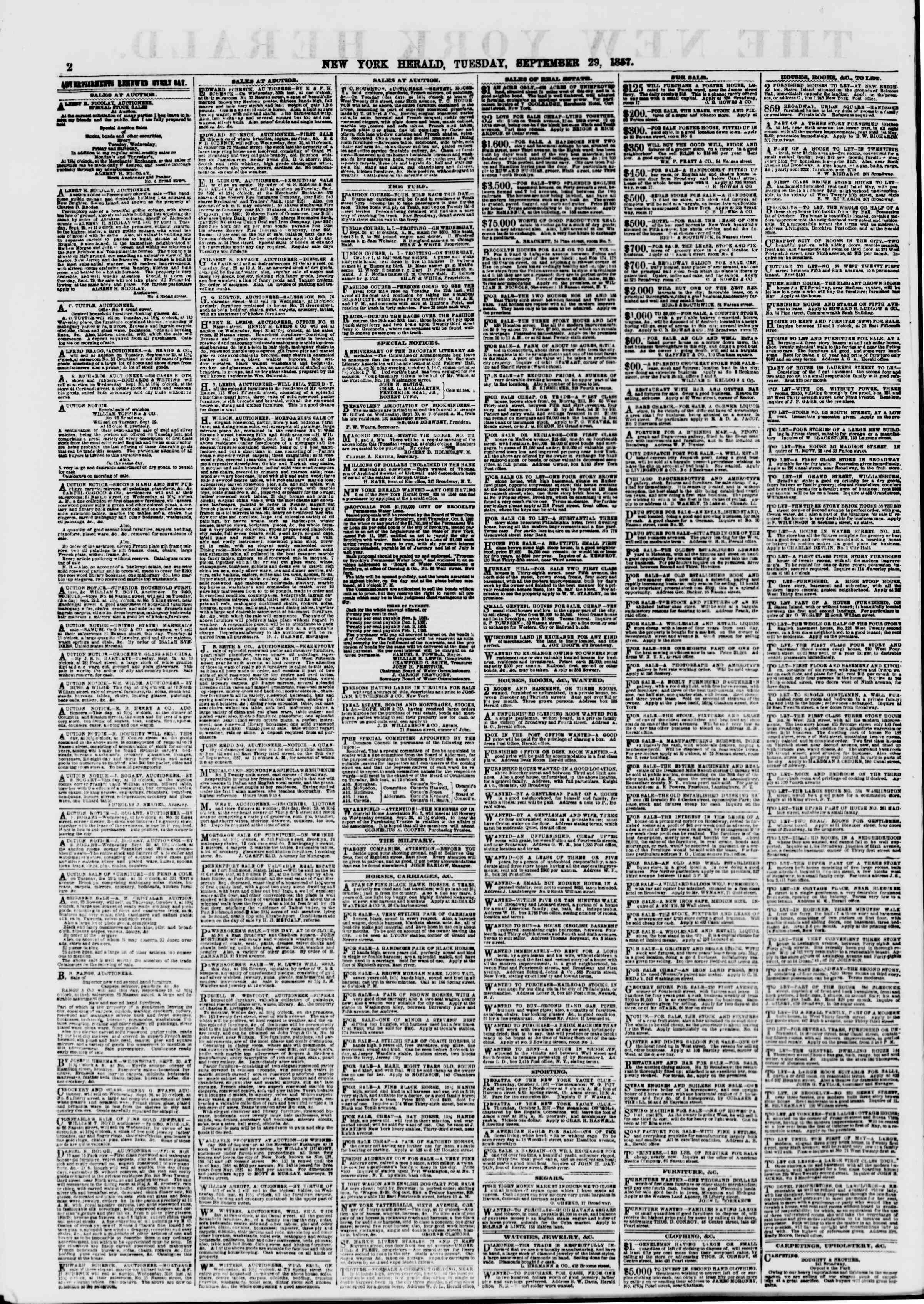 Newspaper of The New York Herald dated September 29, 1857 Page 2