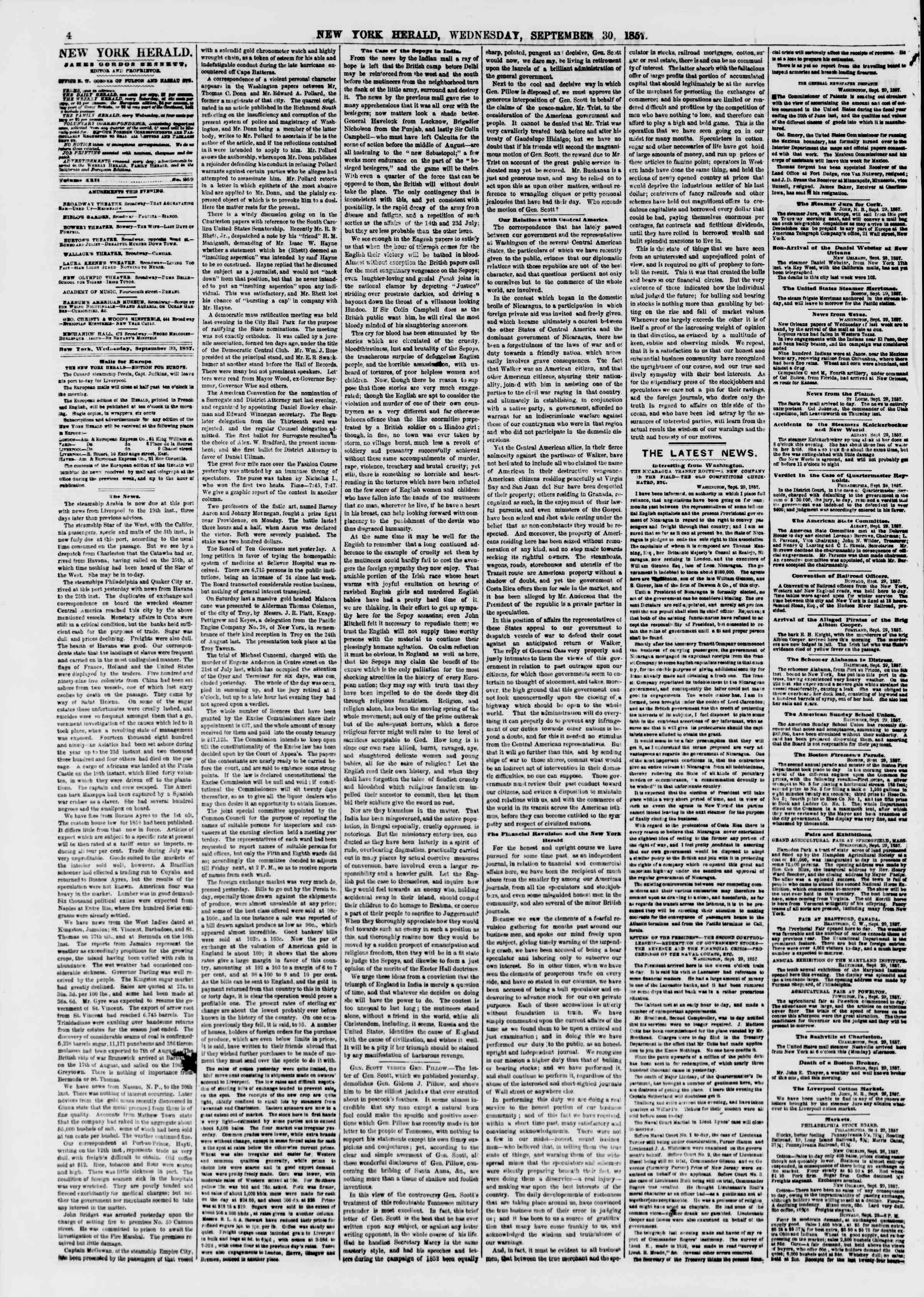 Newspaper of The New York Herald dated September 30, 1857 Page 4
