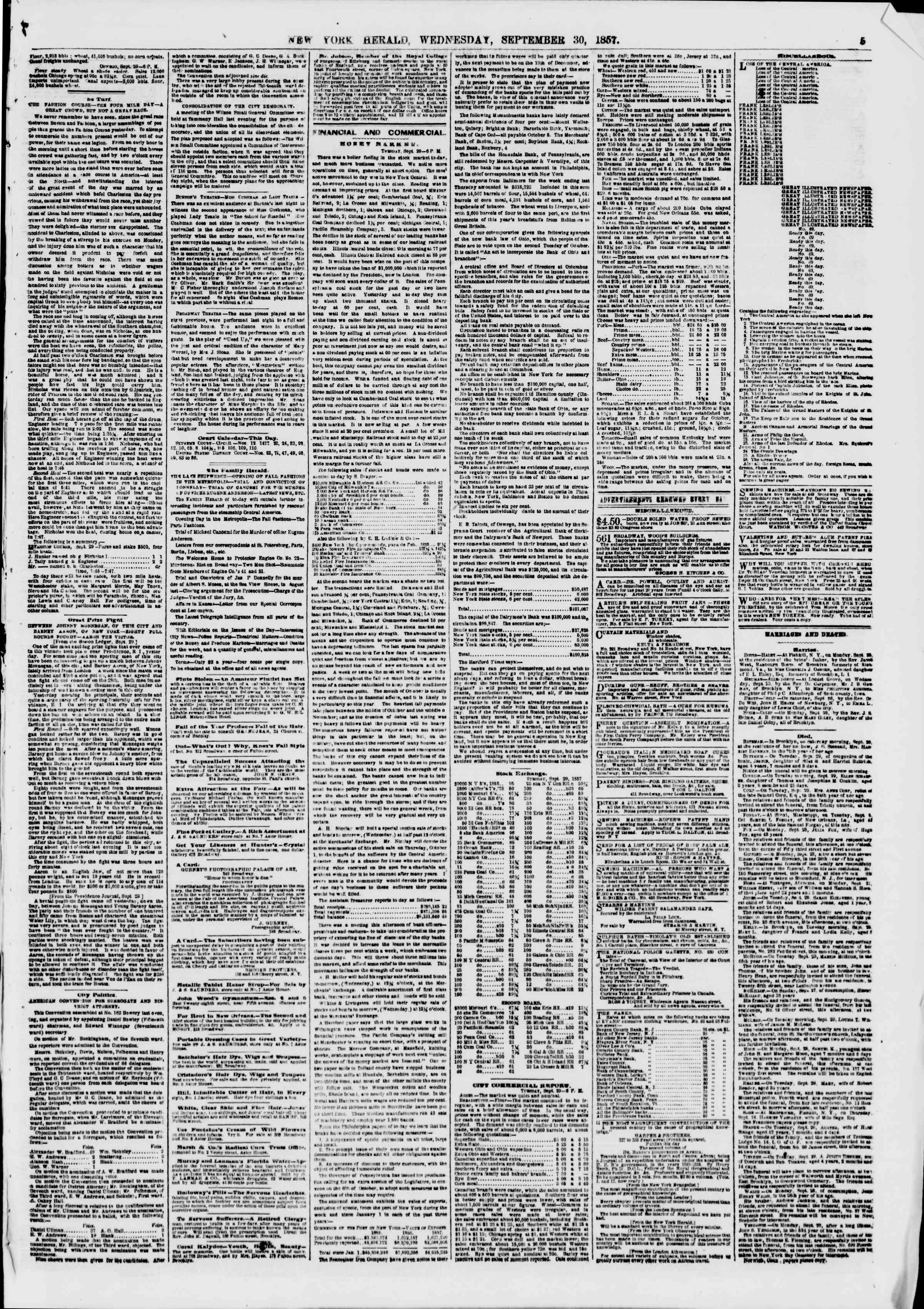 Newspaper of The New York Herald dated 30 Eylül 1857 Page 5