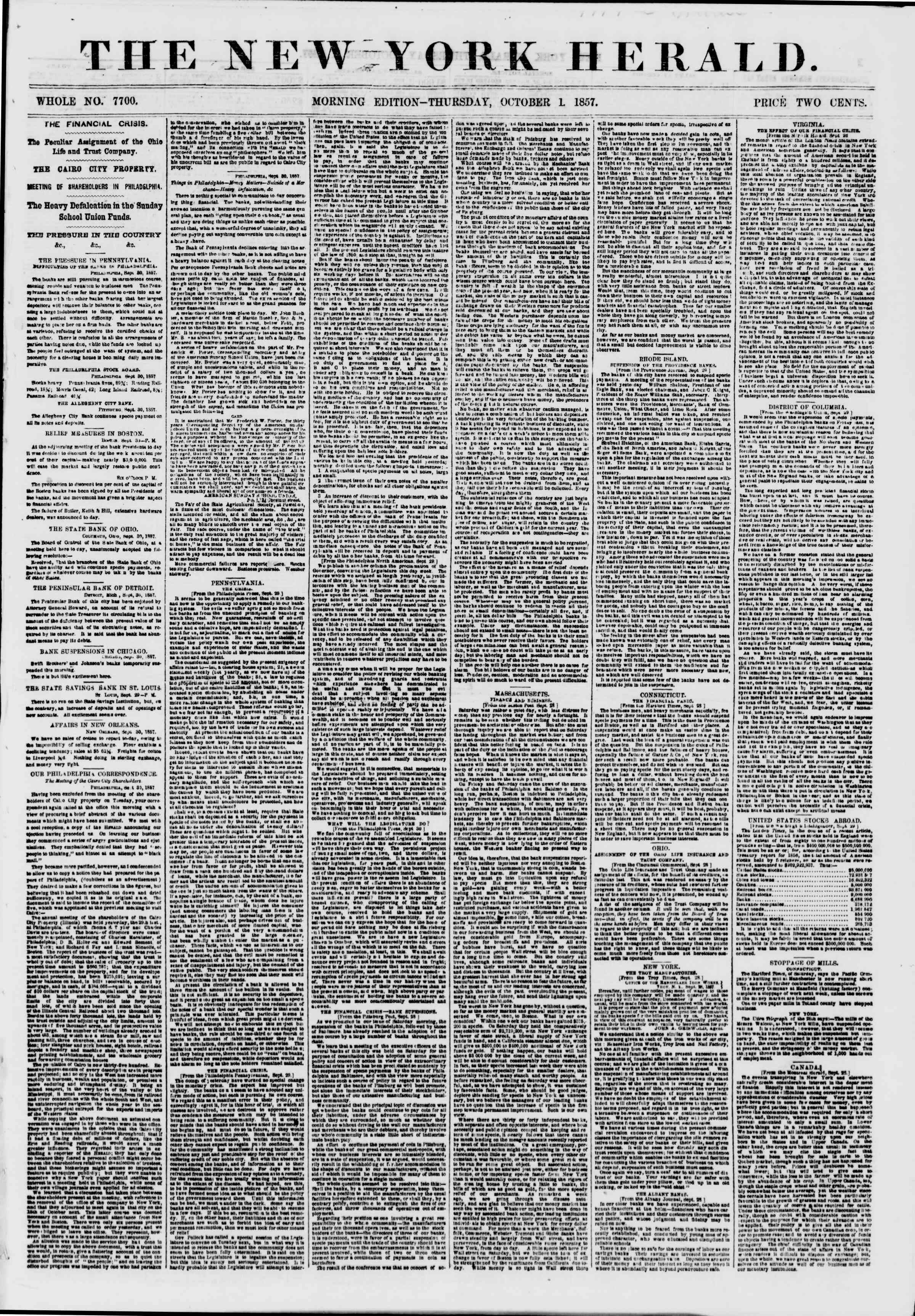 Newspaper of The New York Herald dated October 1, 1857 Page 1