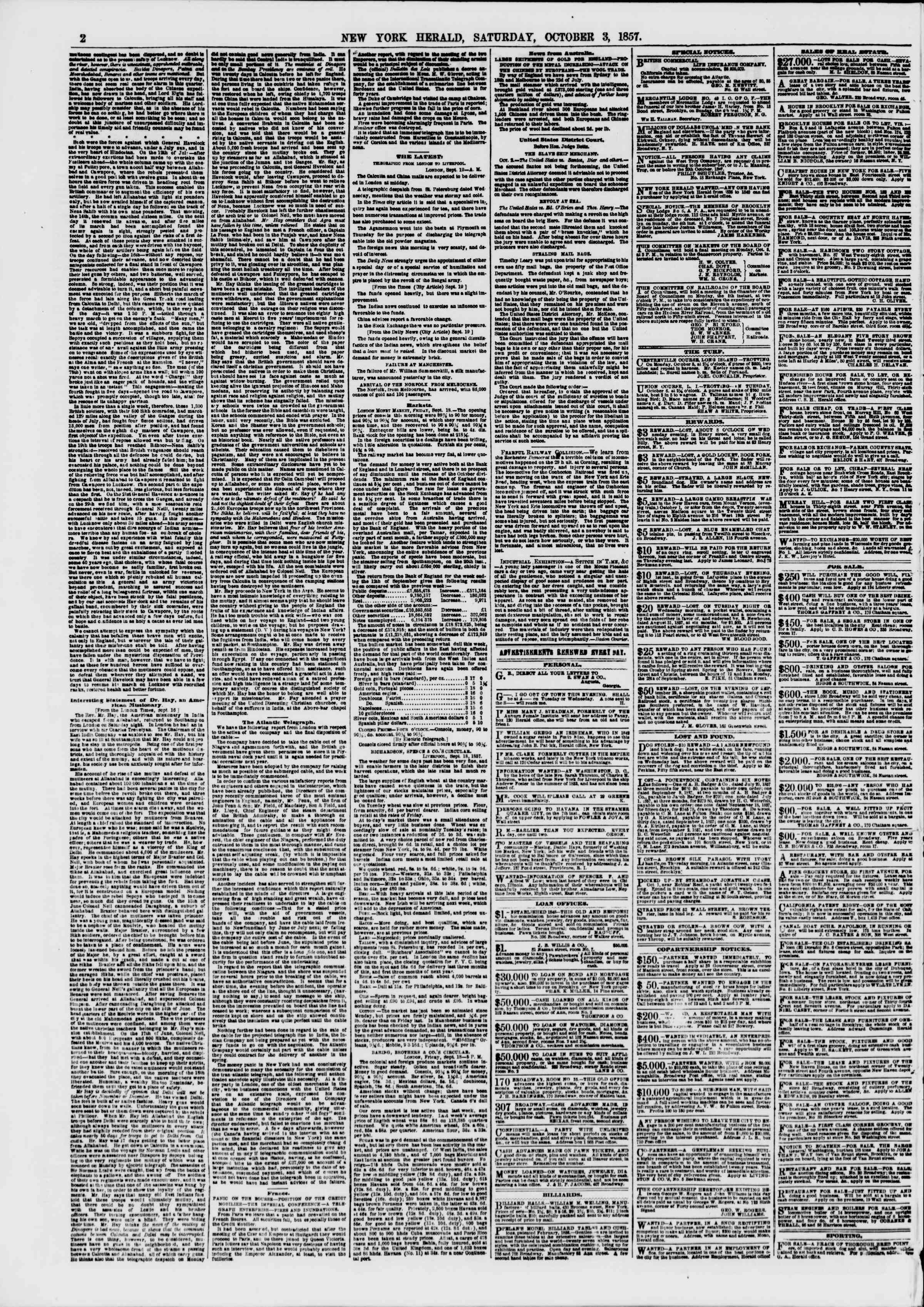 Newspaper of The New York Herald dated October 3, 1857 Page 2