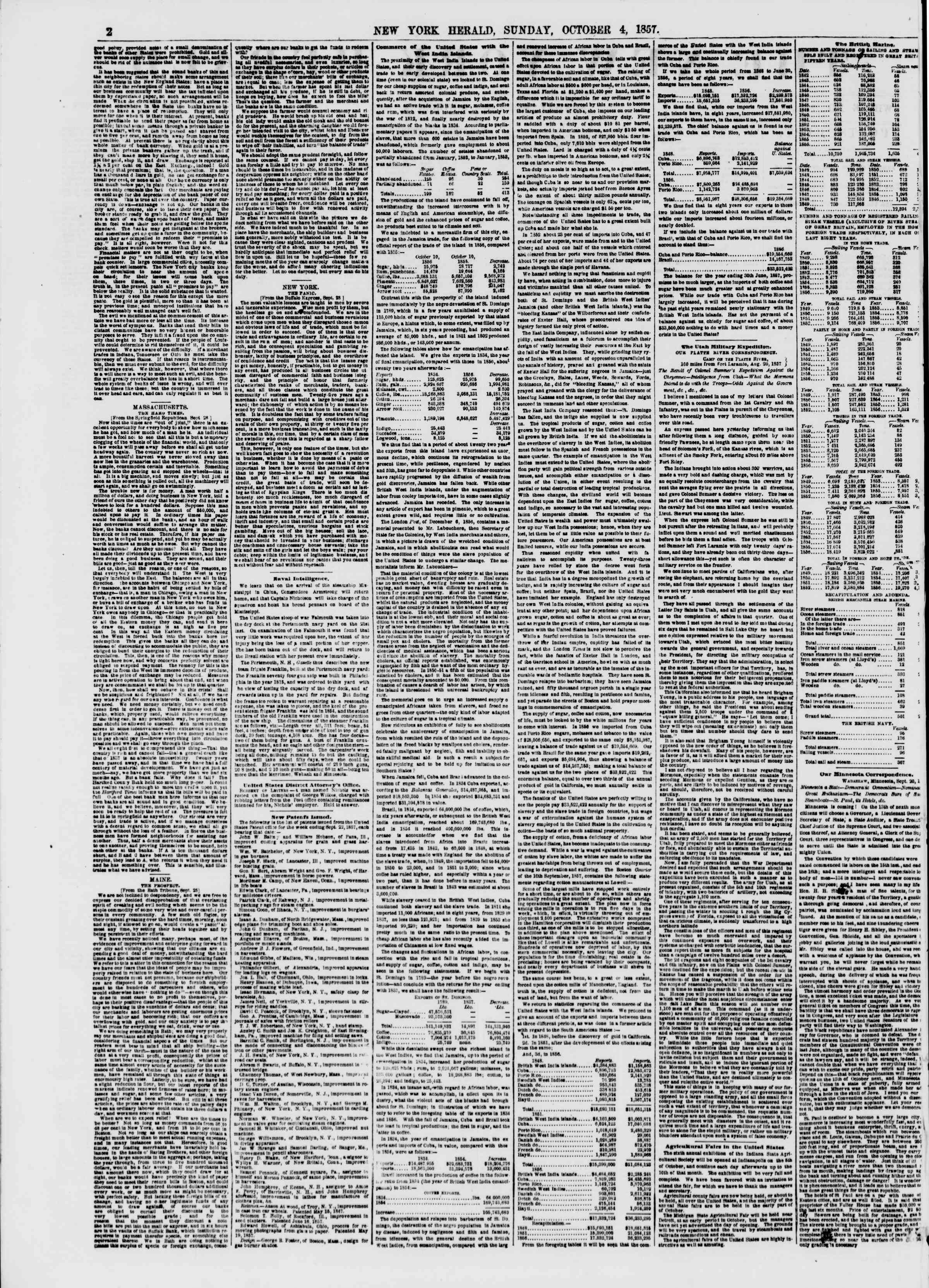 Newspaper of The New York Herald dated October 4, 1857 Page 2