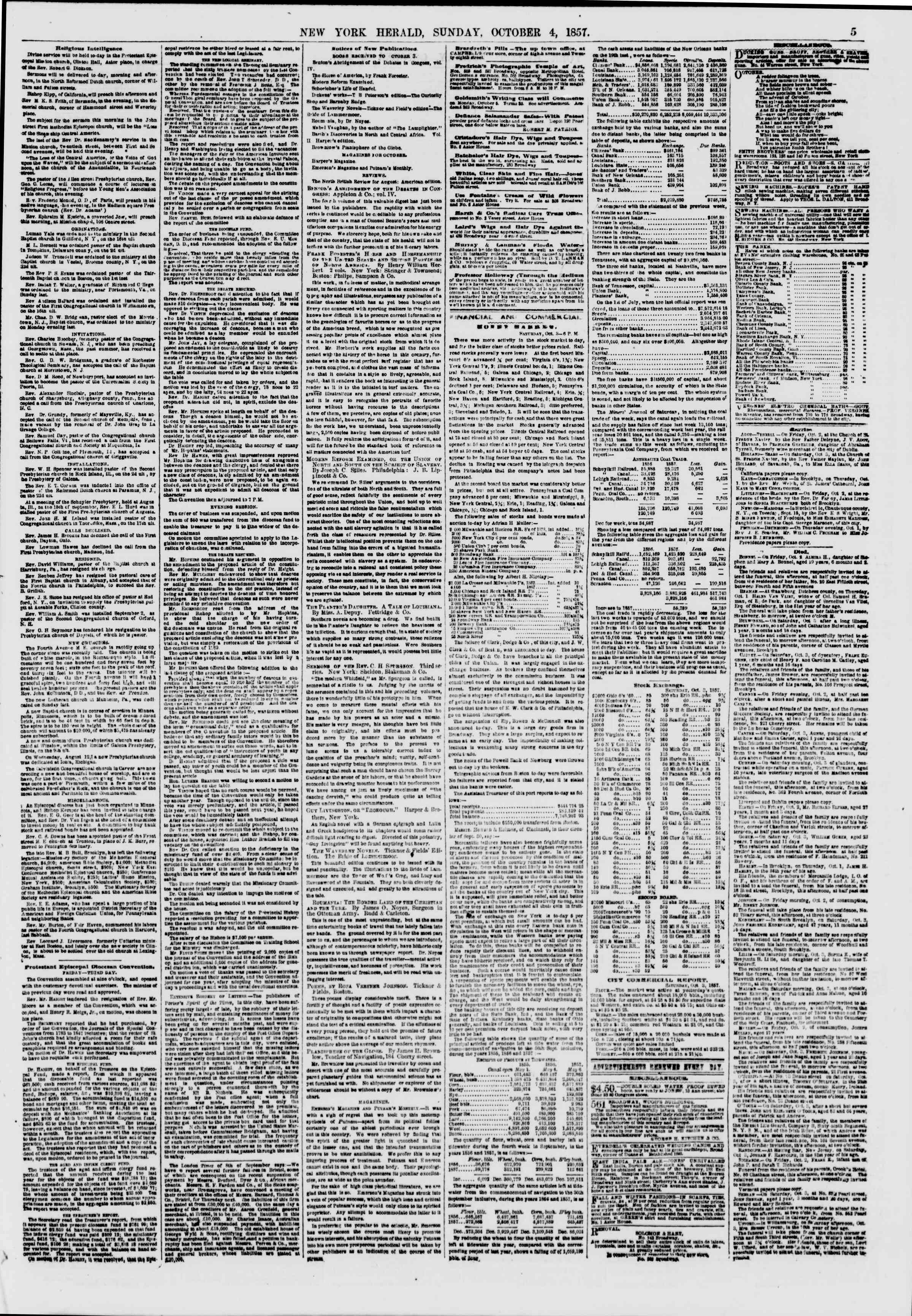 Newspaper of The New York Herald dated October 4, 1857 Page 5