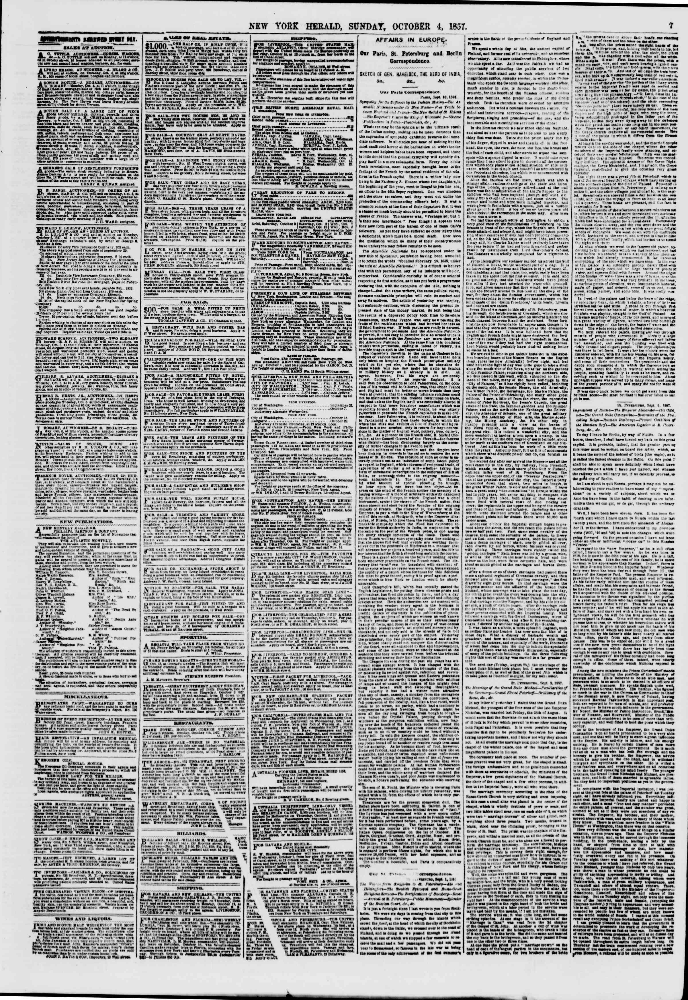 Newspaper of The New York Herald dated October 4, 1857 Page 7