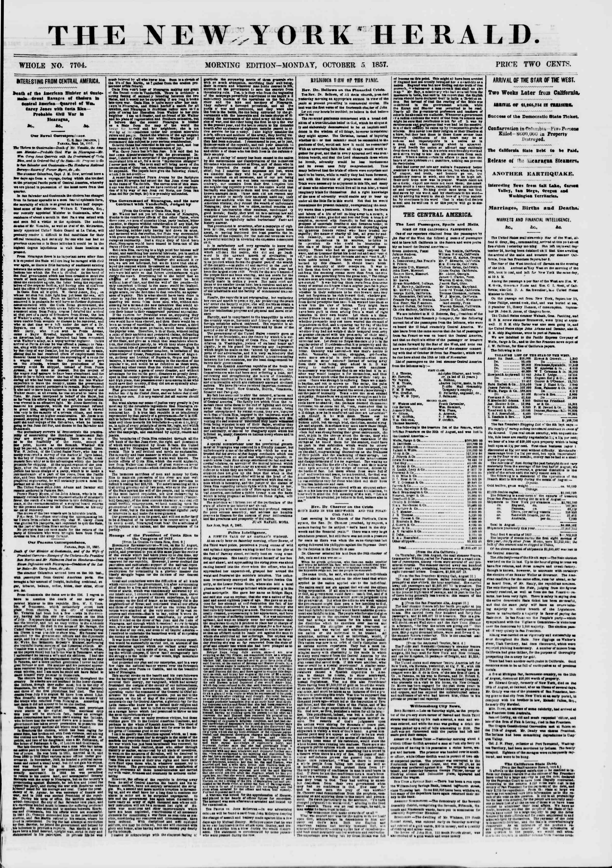 Newspaper of The New York Herald dated October 5, 1857 Page 1