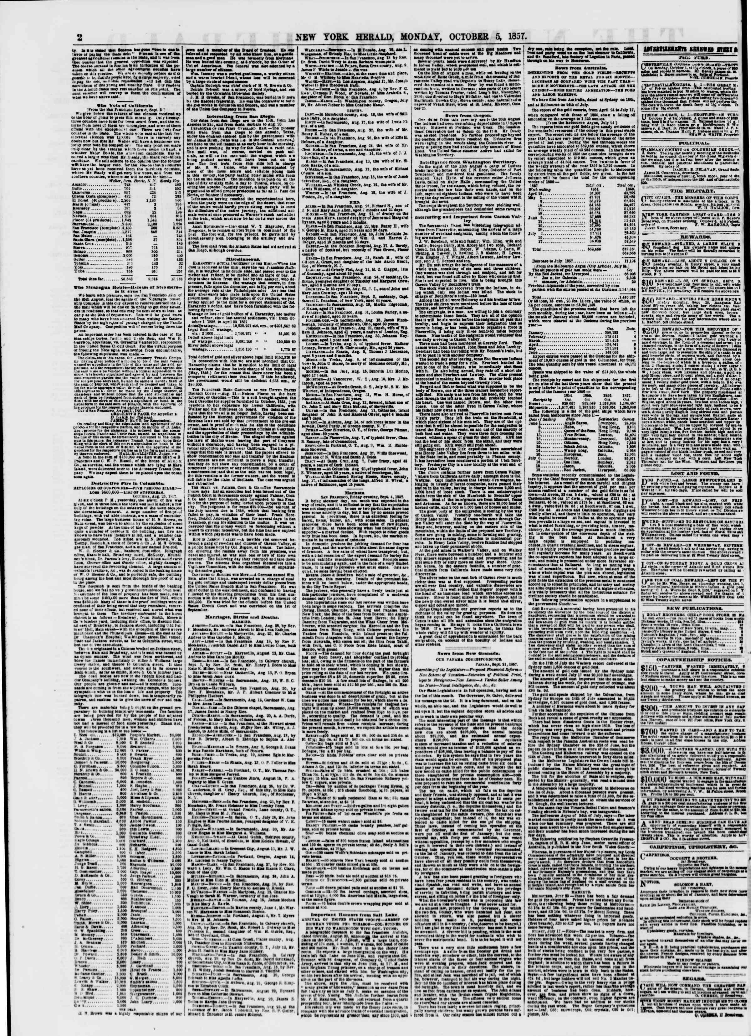 Newspaper of The New York Herald dated October 5, 1857 Page 2