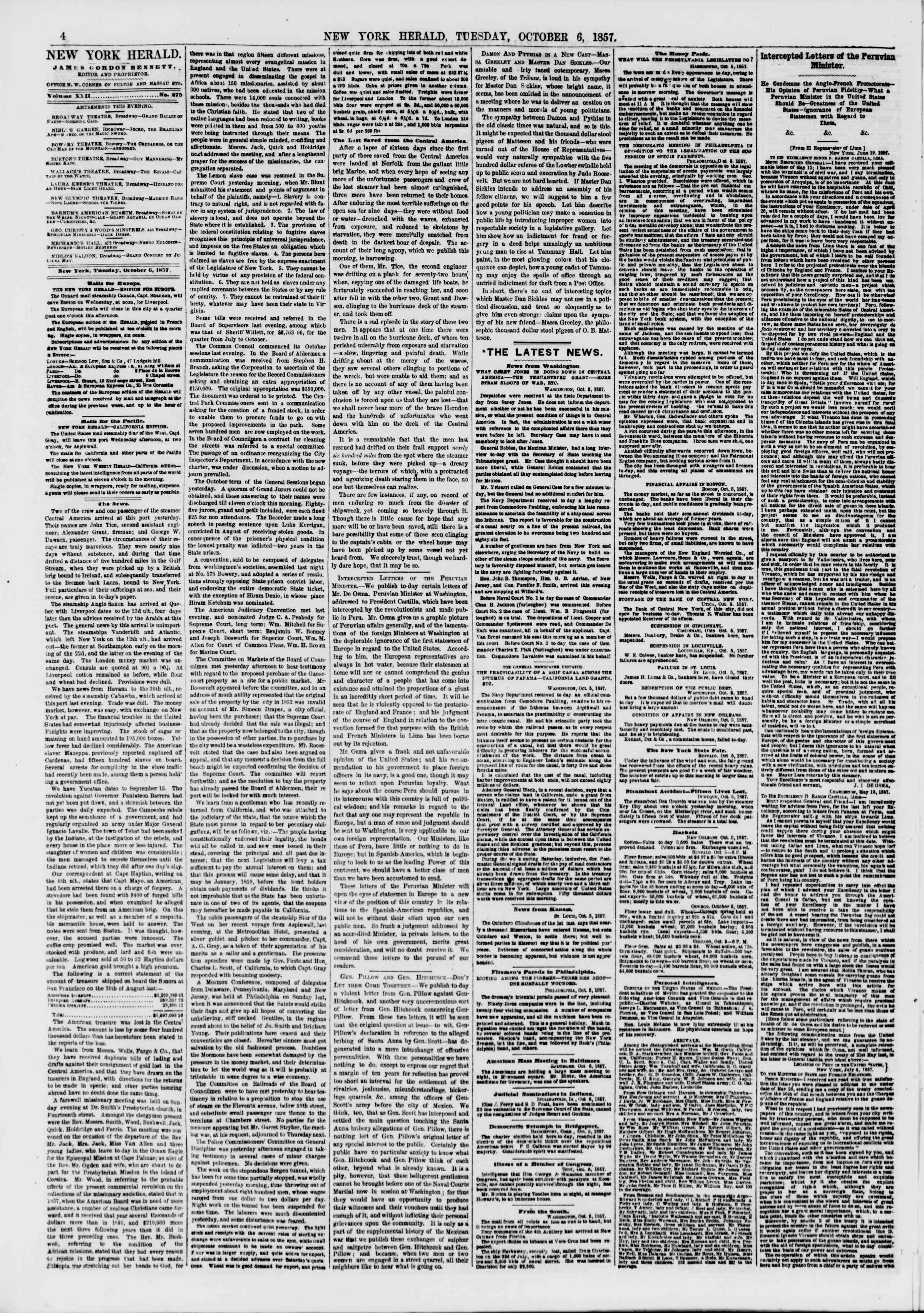 Newspaper of The New York Herald dated October 6, 1857 Page 4