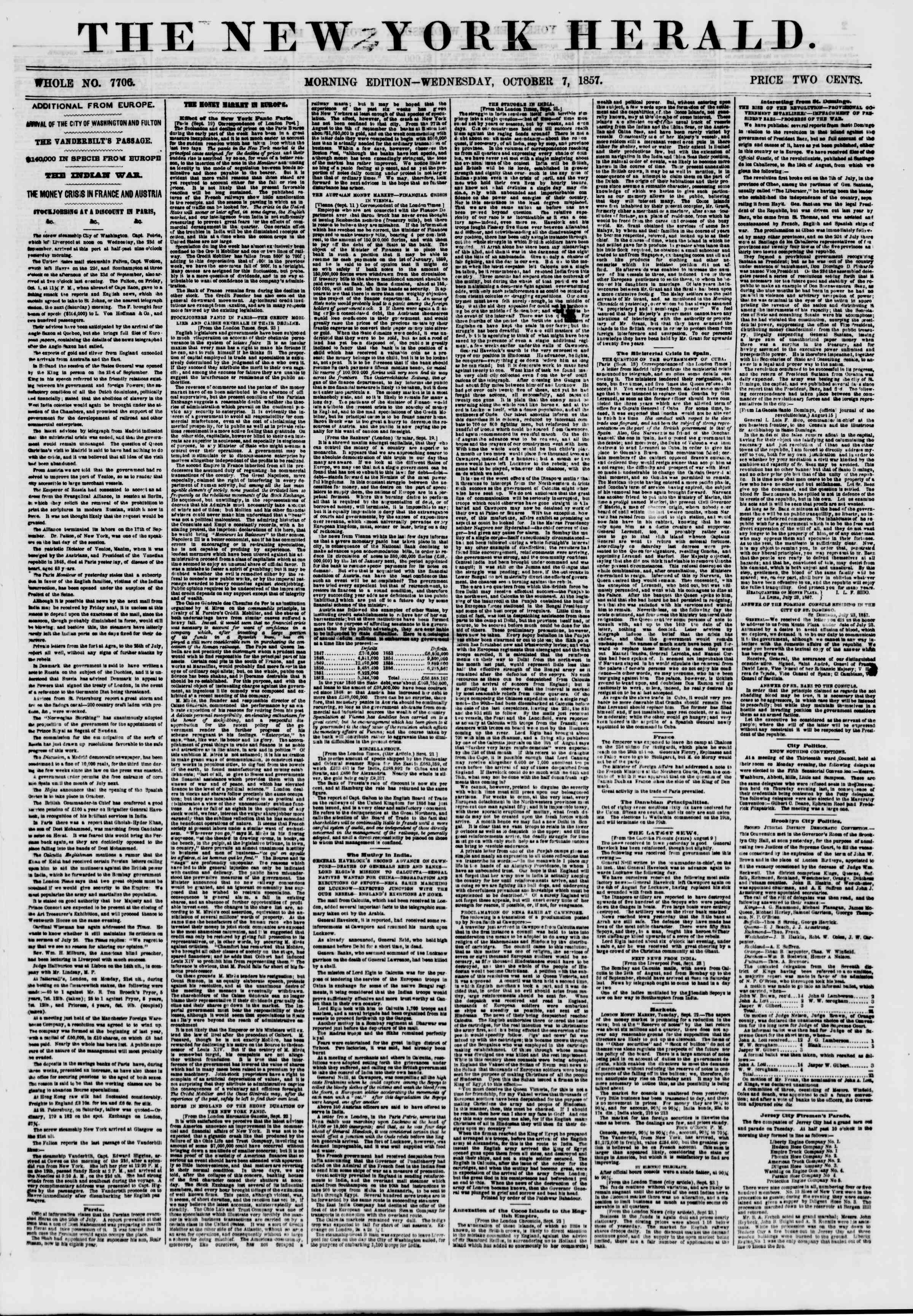 Newspaper of The New York Herald dated October 7, 1857 Page 1
