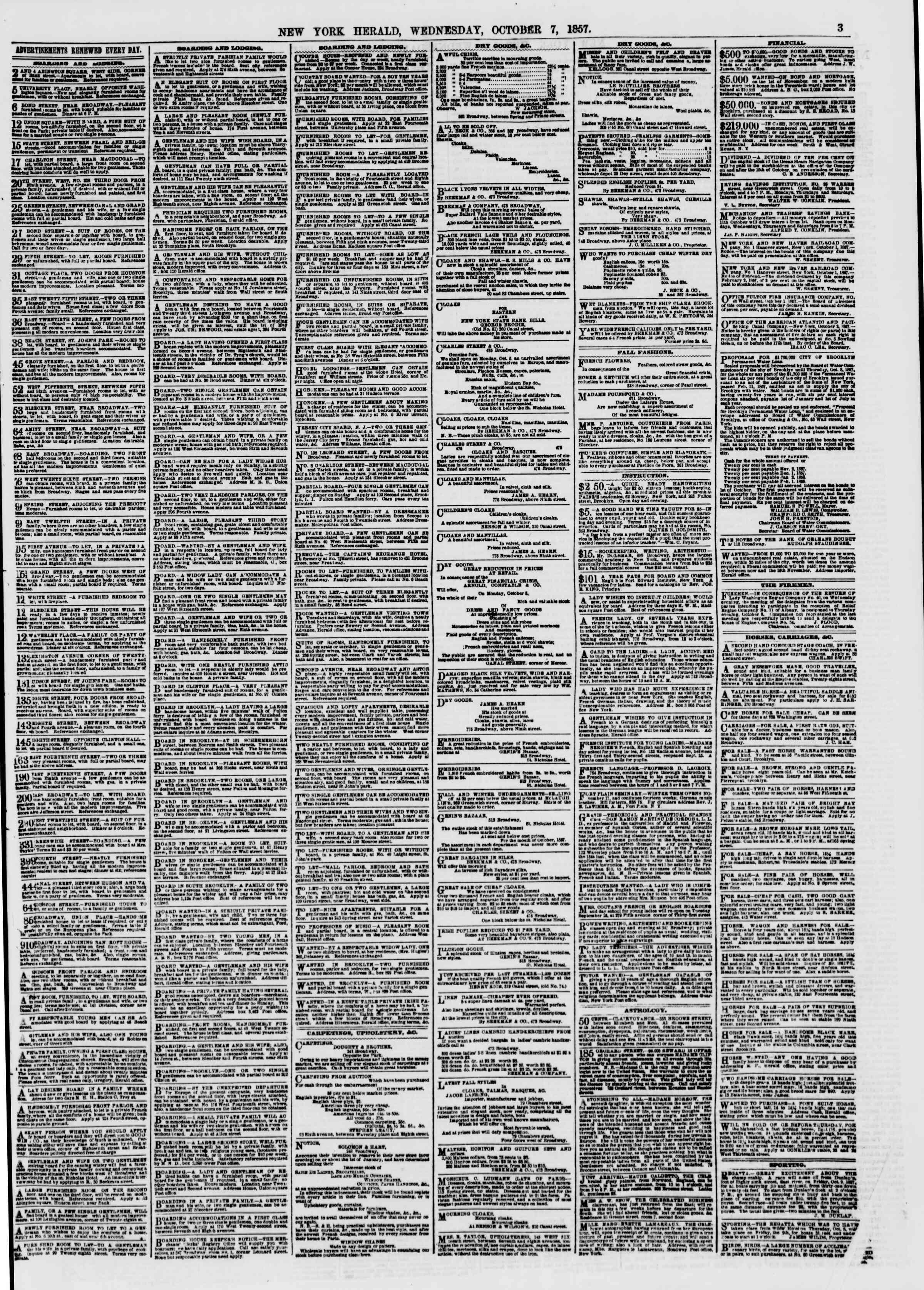 Newspaper of The New York Herald dated October 7, 1857 Page 3
