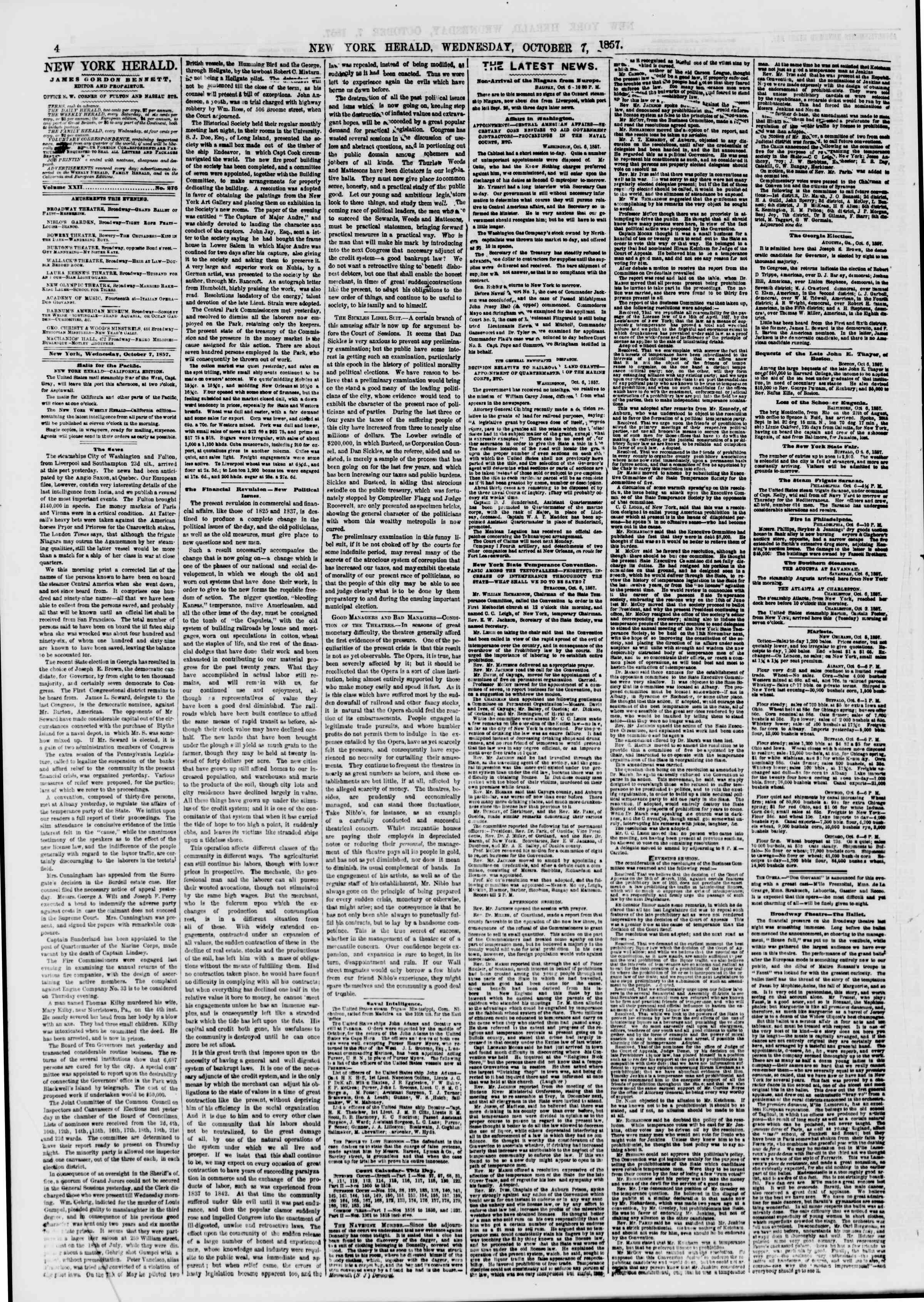 7 Ekim 1857 tarihli The New York Herald Gazetesi Sayfa 4