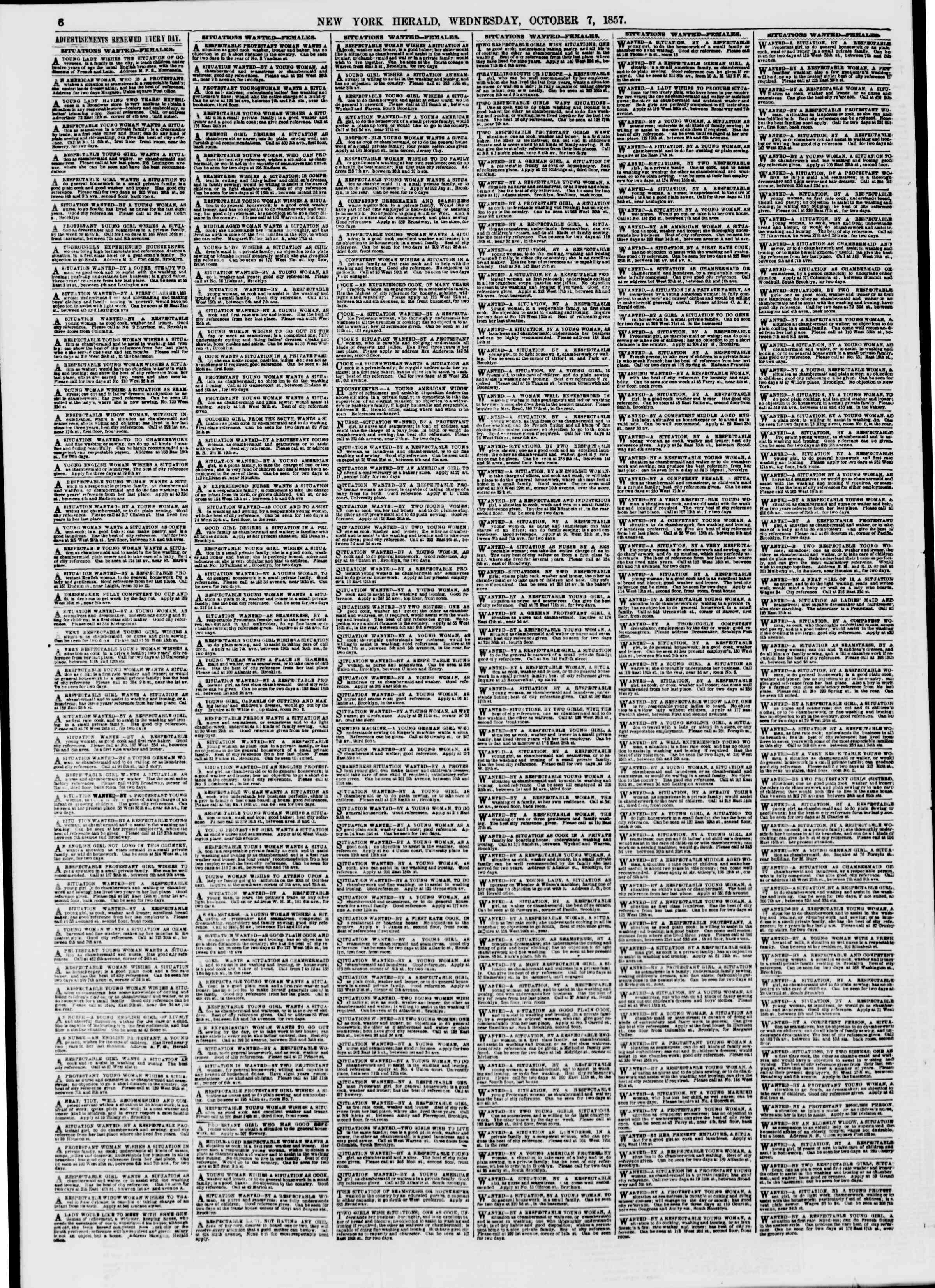 Newspaper of The New York Herald dated October 7, 1857 Page 6