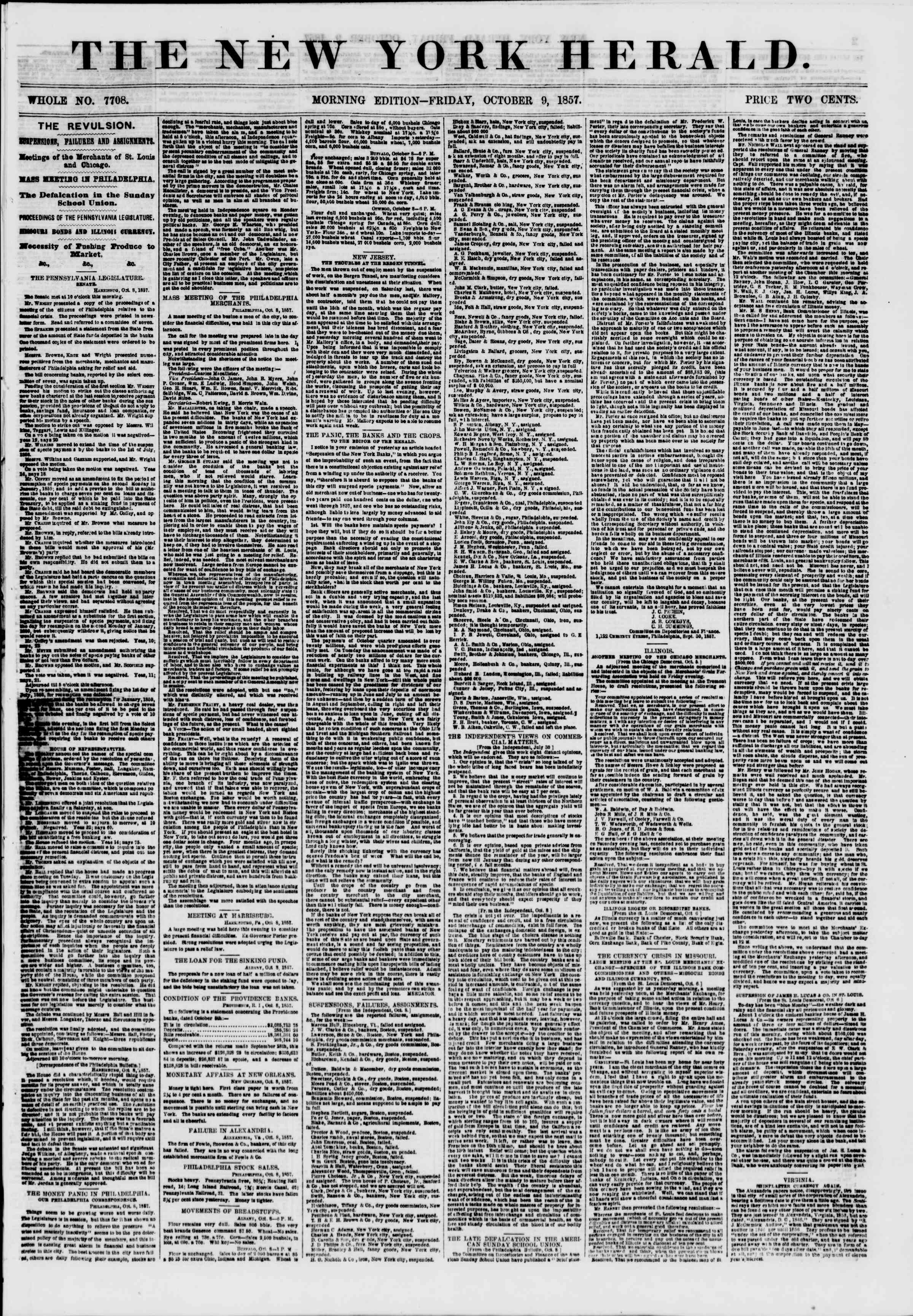 Newspaper of The New York Herald dated October 9, 1857 Page 1