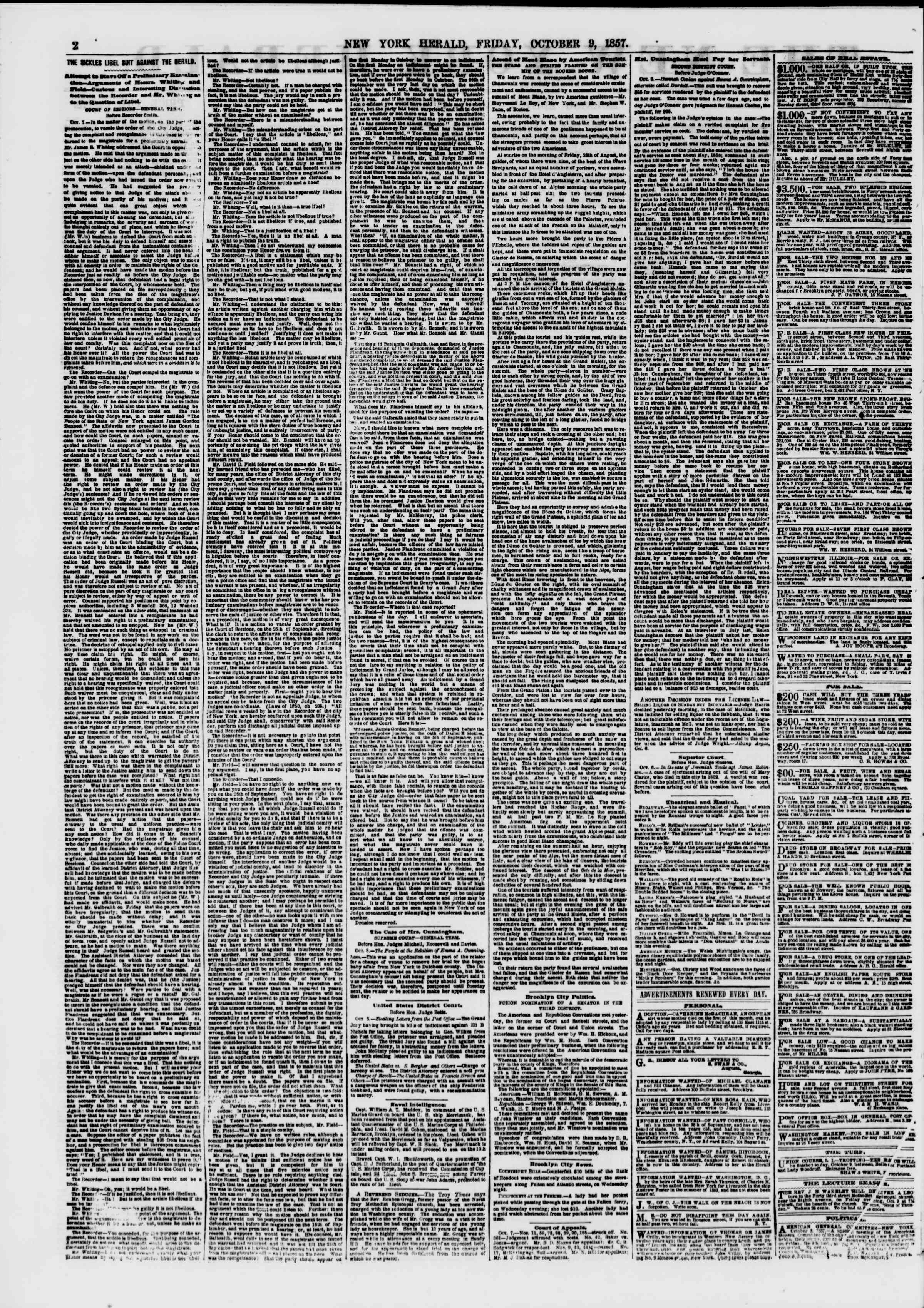 Newspaper of The New York Herald dated October 9, 1857 Page 2