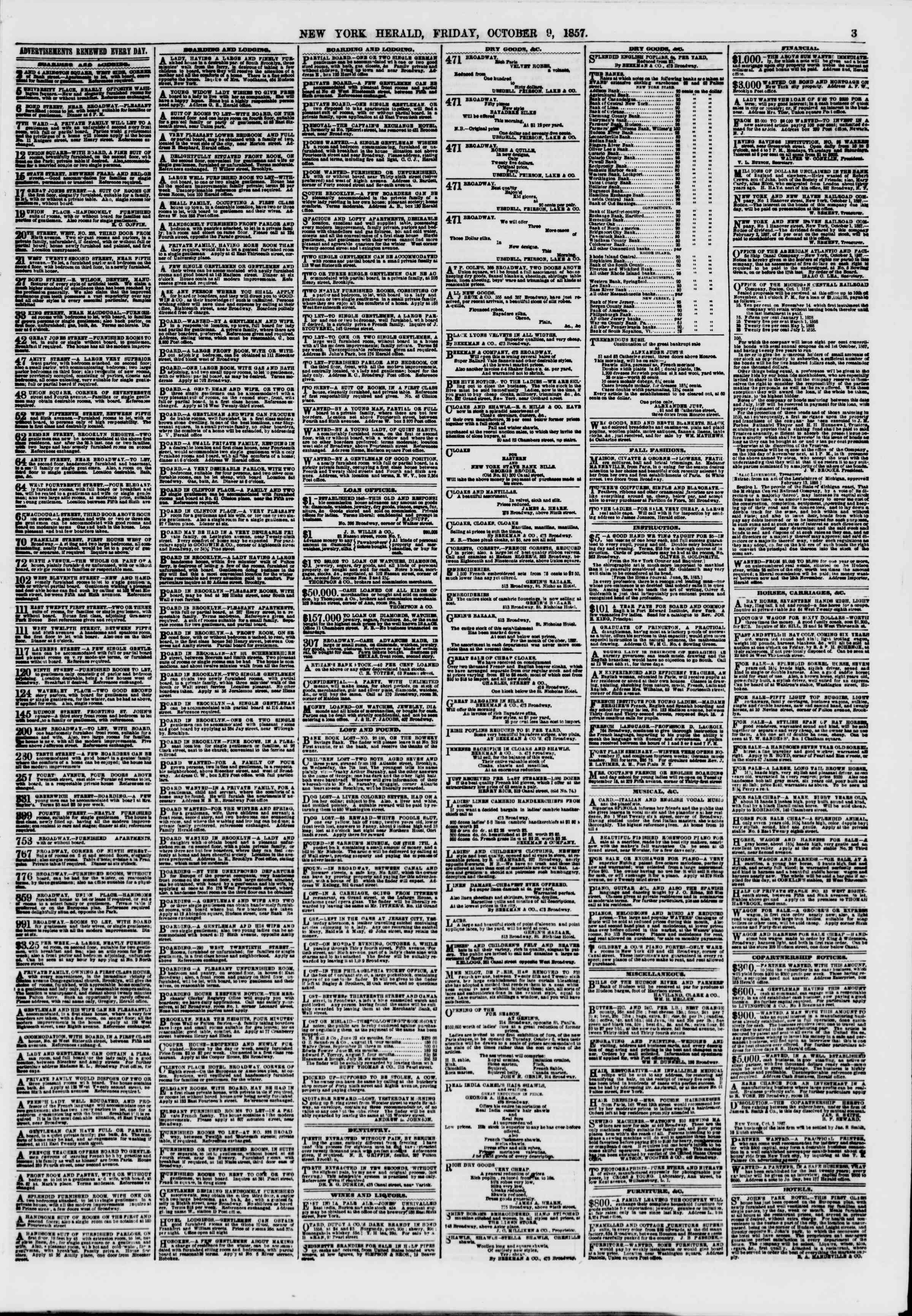 Newspaper of The New York Herald dated October 9, 1857 Page 3