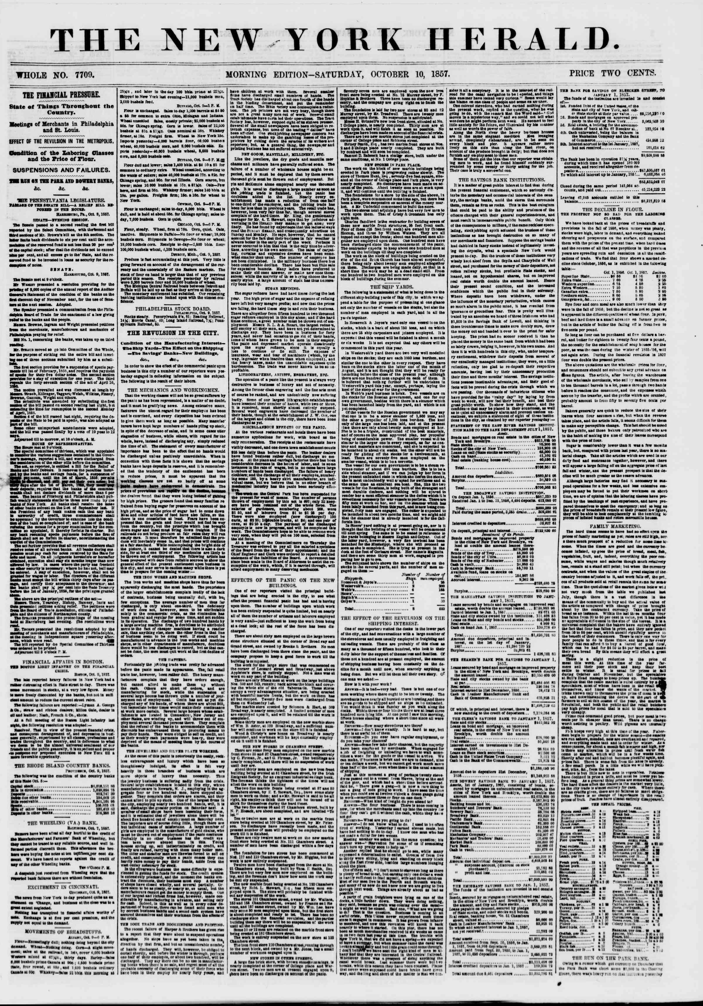 Newspaper of The New York Herald dated October 10, 1857 Page 1