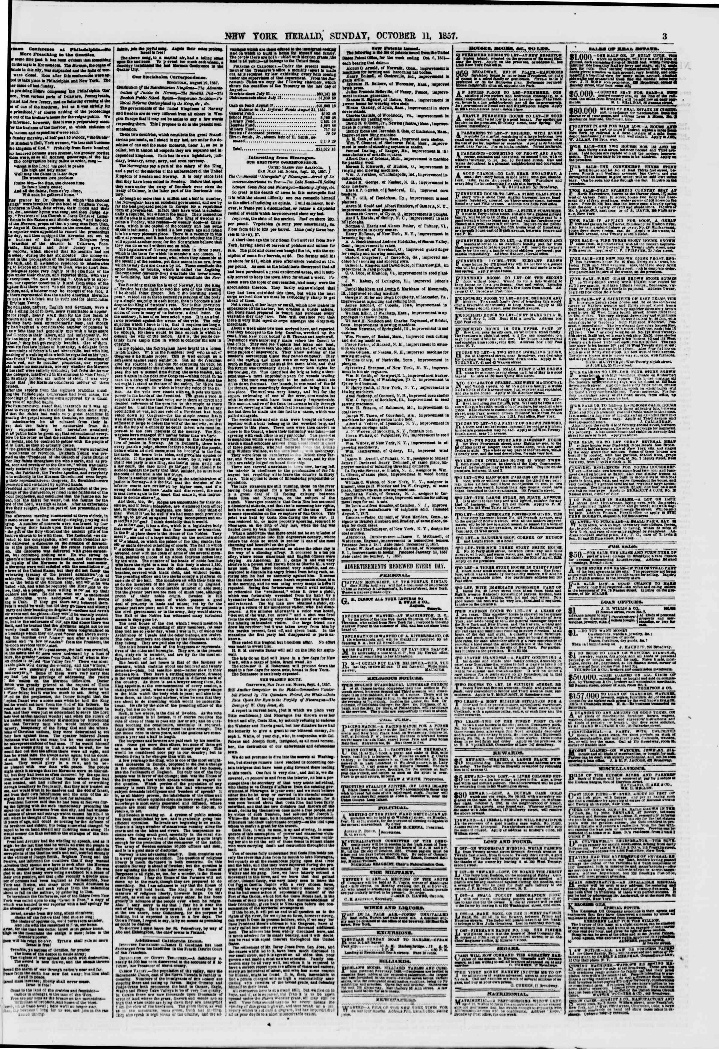 Newspaper of The New York Herald dated 11 Ekim 1857 Page 3