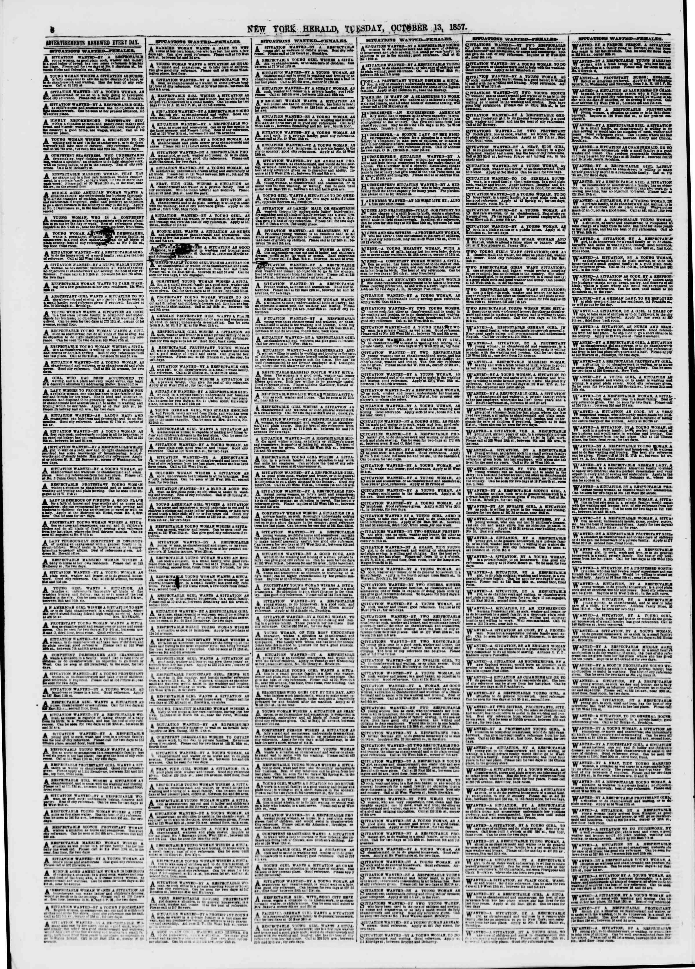Newspaper of The New York Herald dated October 13, 1857 Page 6