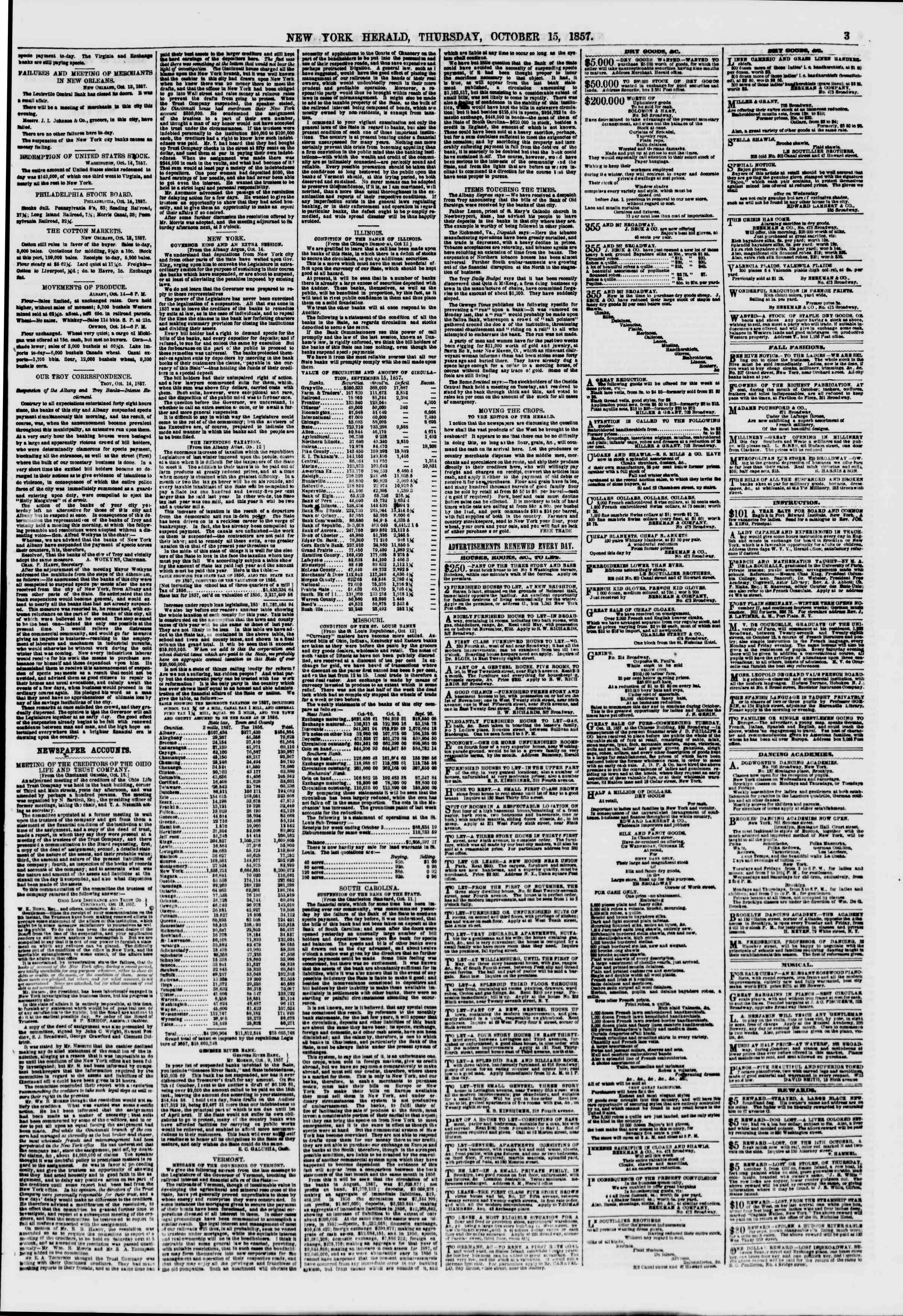 Newspaper of The New York Herald dated October 15, 1857 Page 3