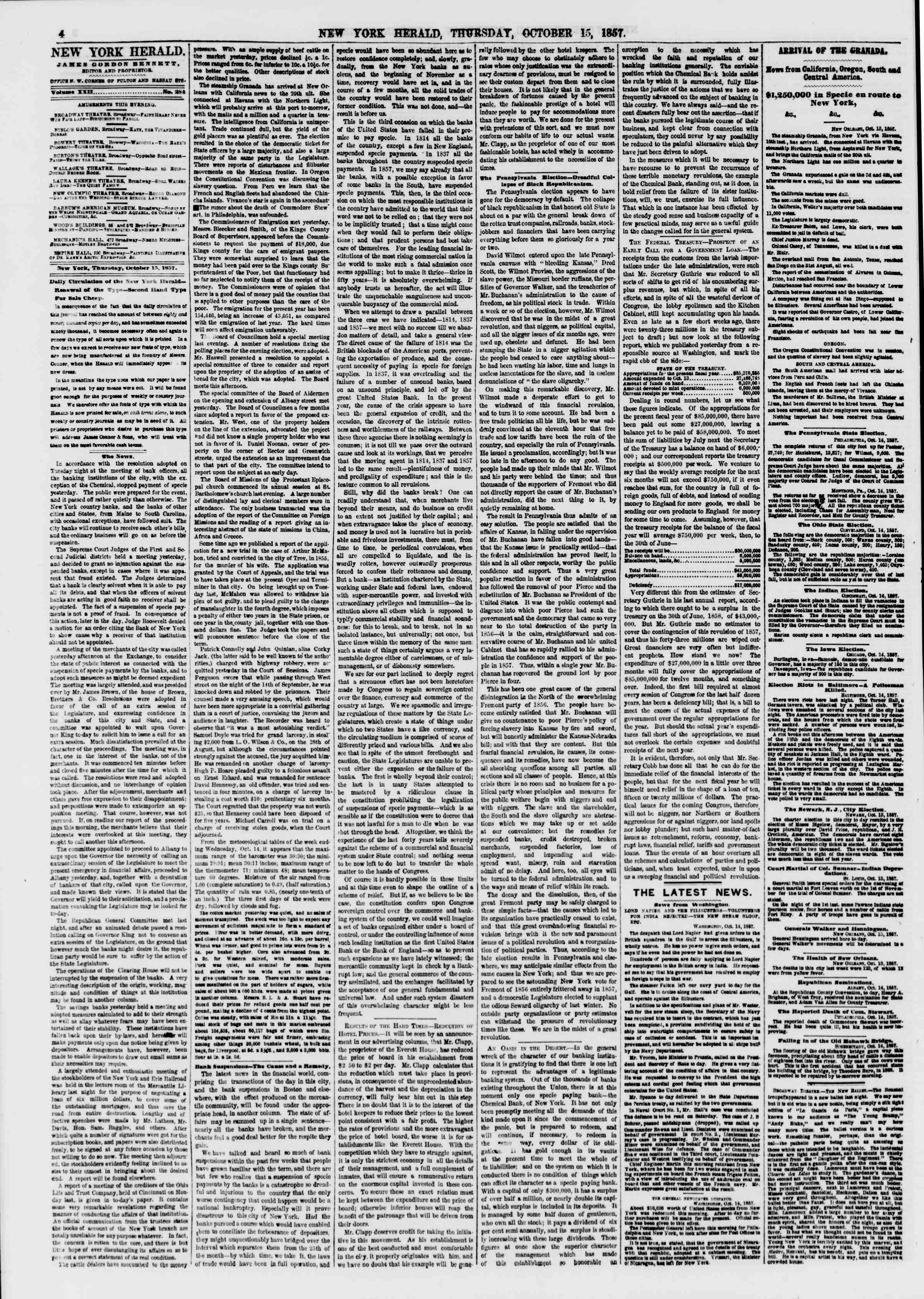 Newspaper of The New York Herald dated October 15, 1857 Page 4
