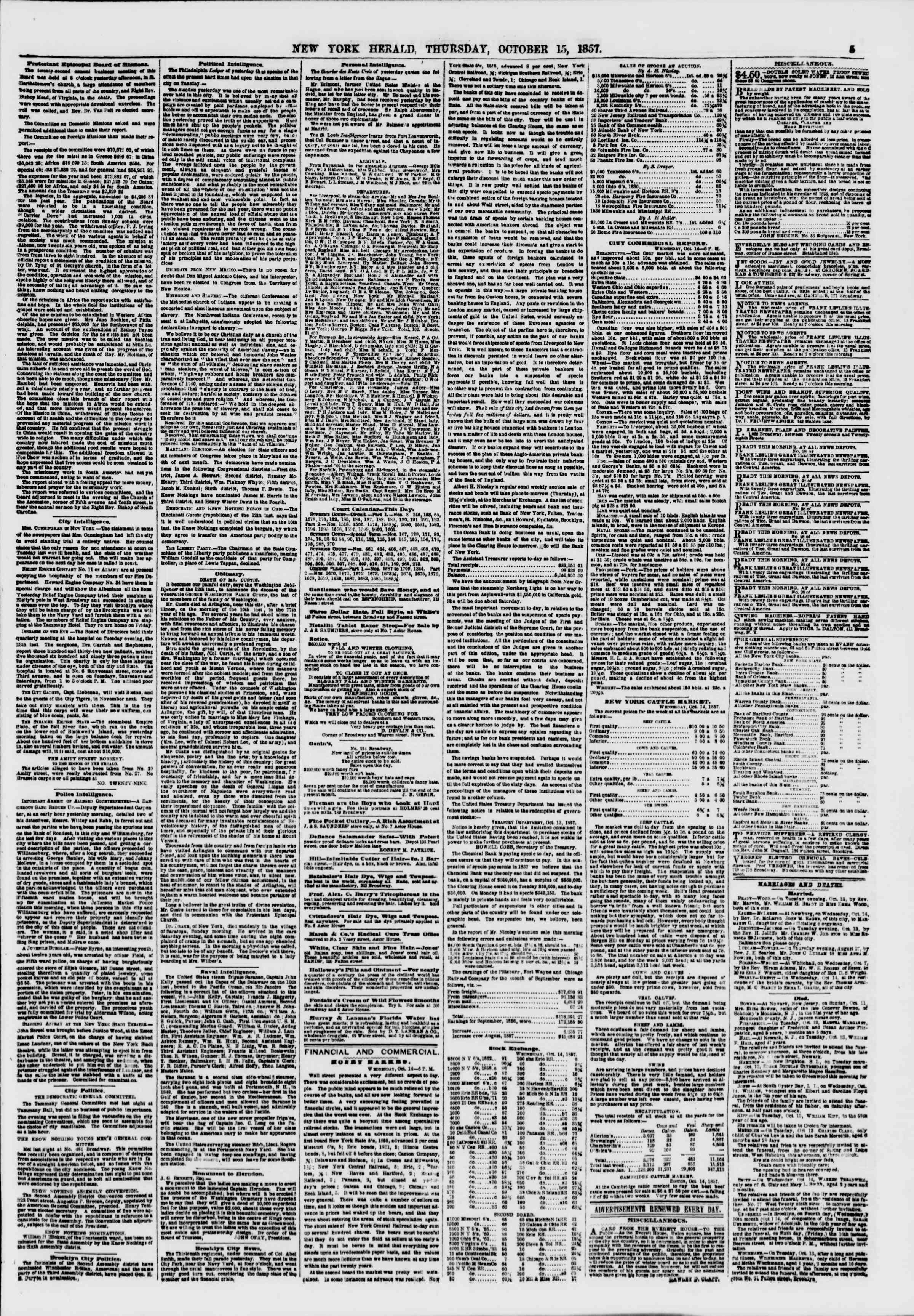 Newspaper of The New York Herald dated October 15, 1857 Page 5