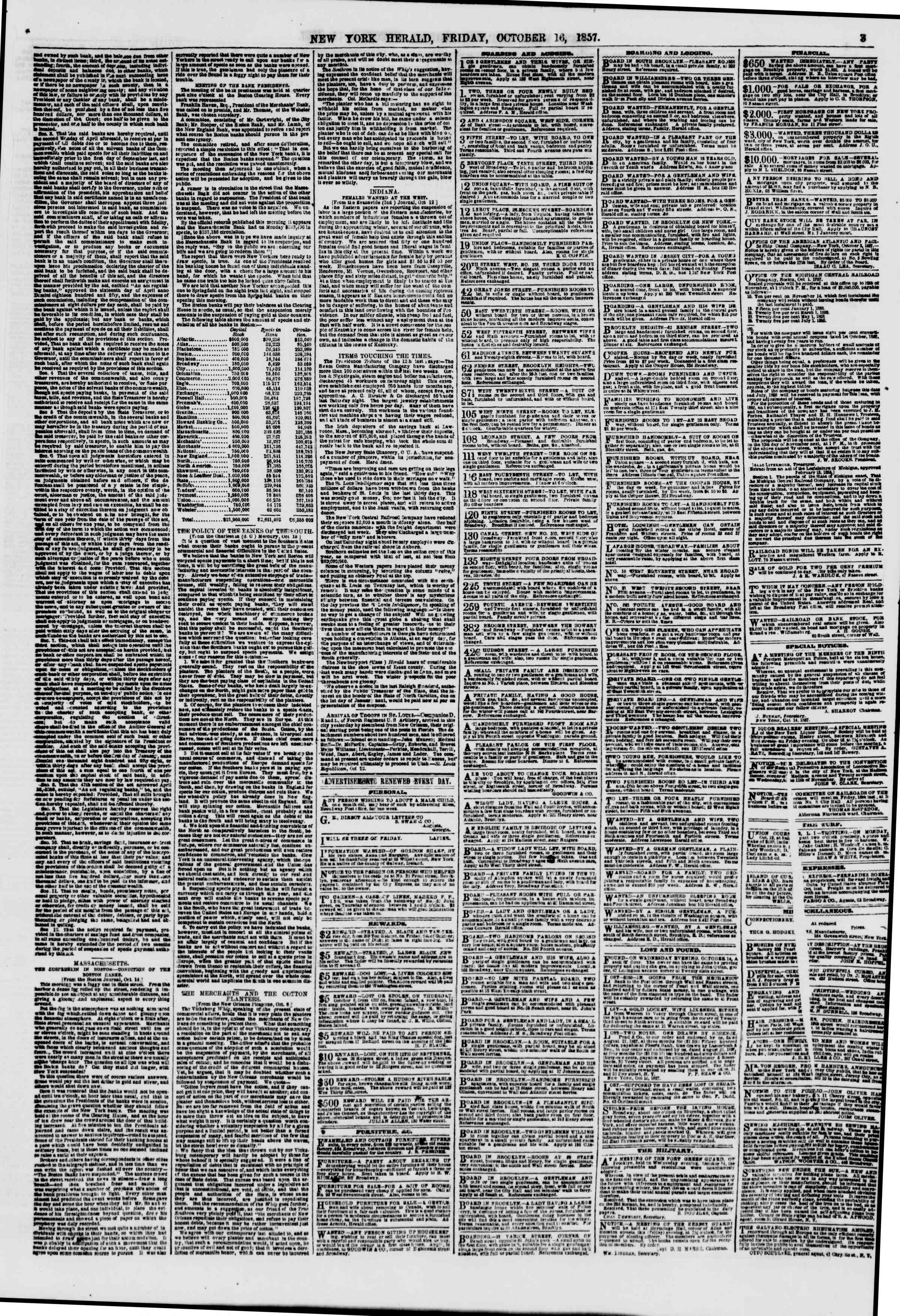 Newspaper of The New York Herald dated October 16, 1857 Page 3