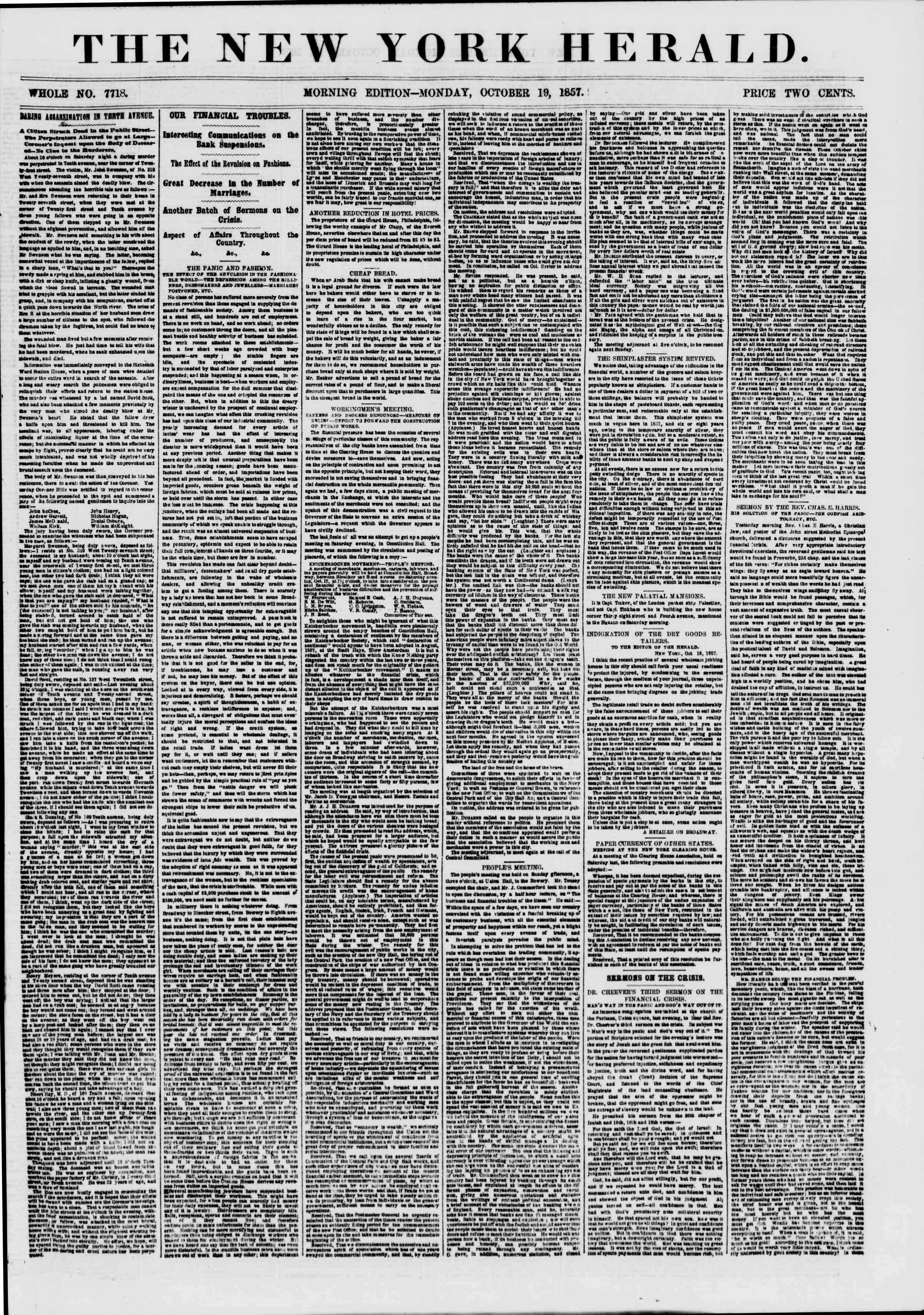 Newspaper of The New York Herald dated October 19, 1857 Page 1