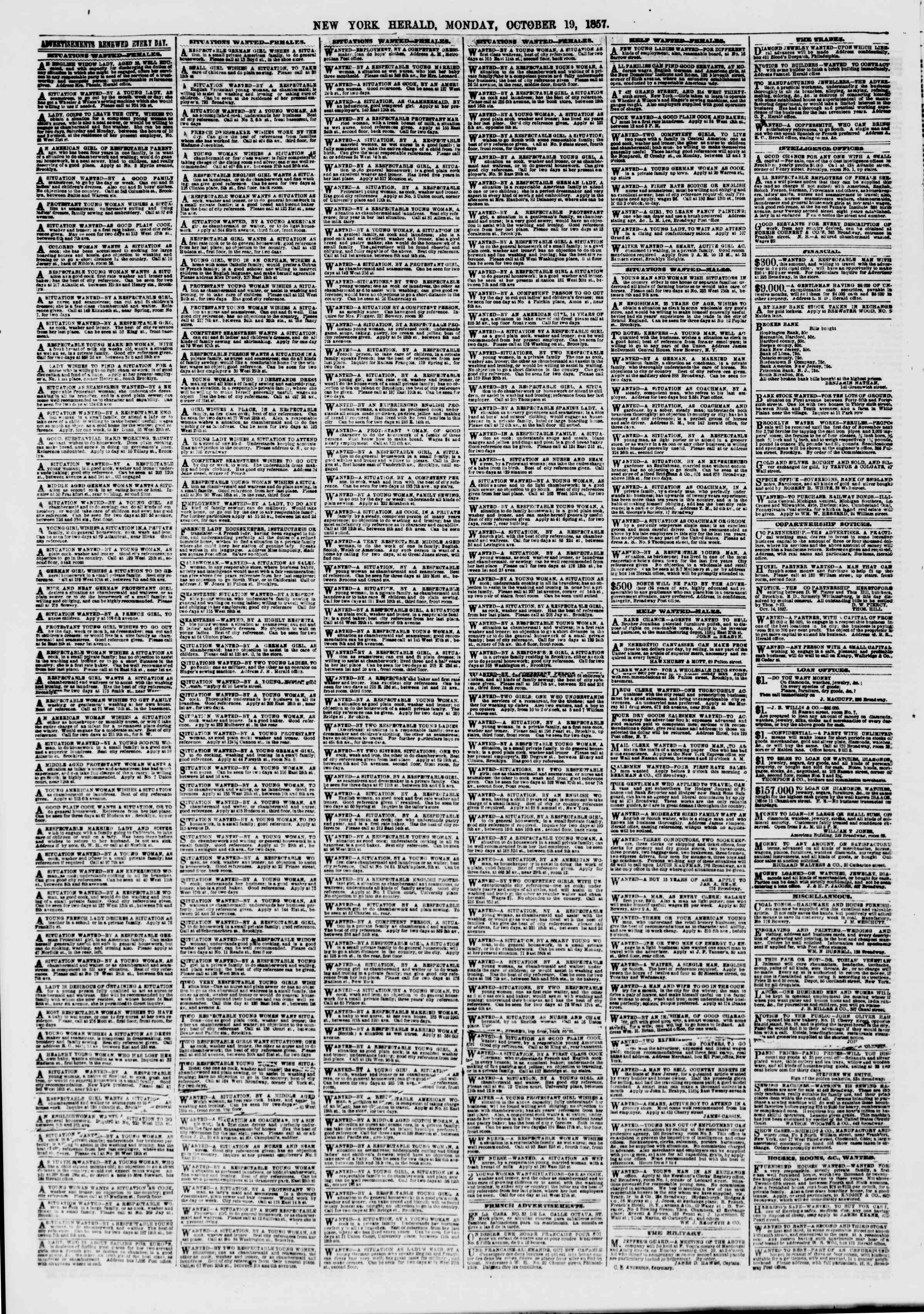 Newspaper of The New York Herald dated October 19, 1857 Page 6