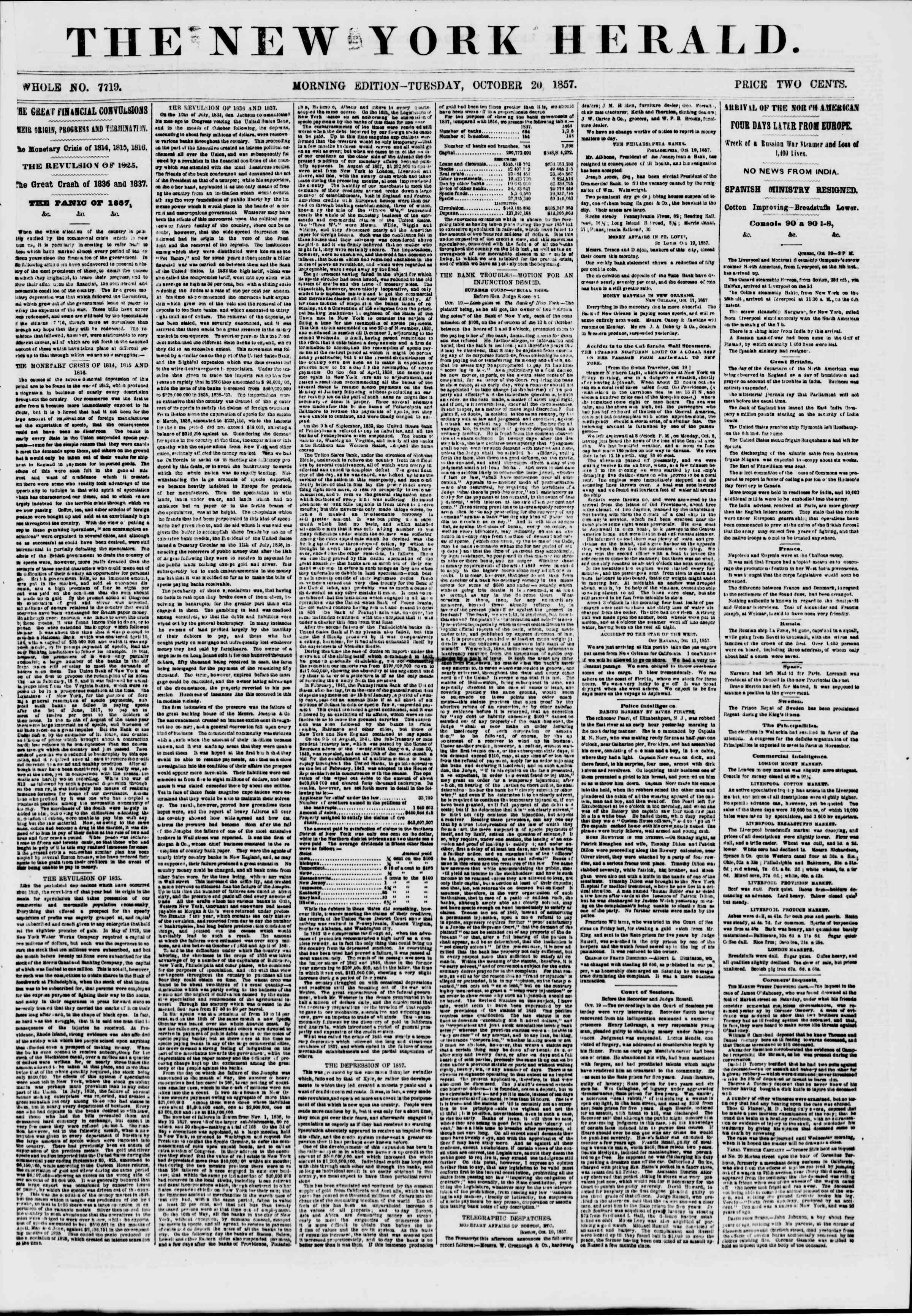 Newspaper of The New York Herald dated October 20, 1857 Page 1