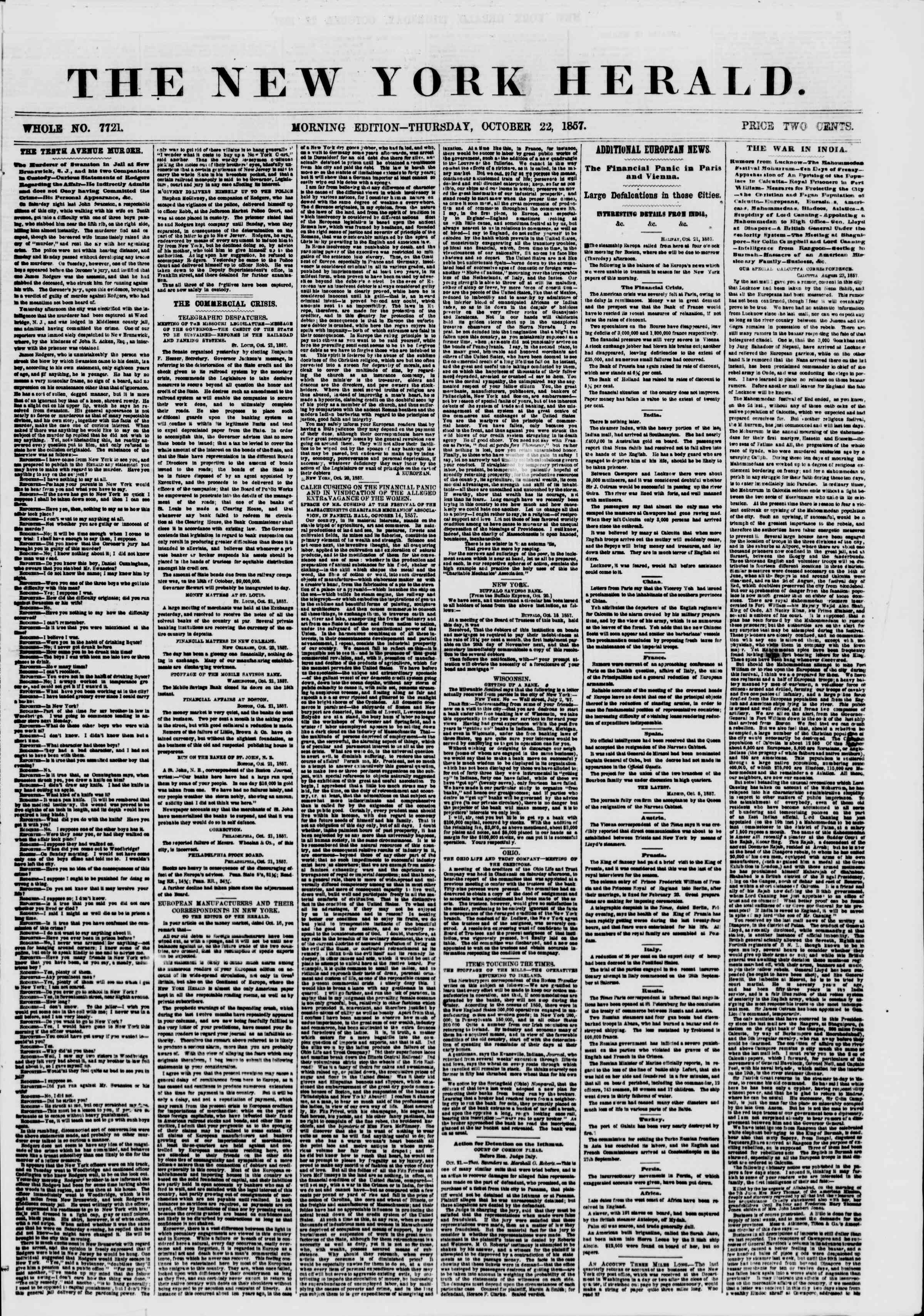 Newspaper of The New York Herald dated October 22, 1857 Page 1