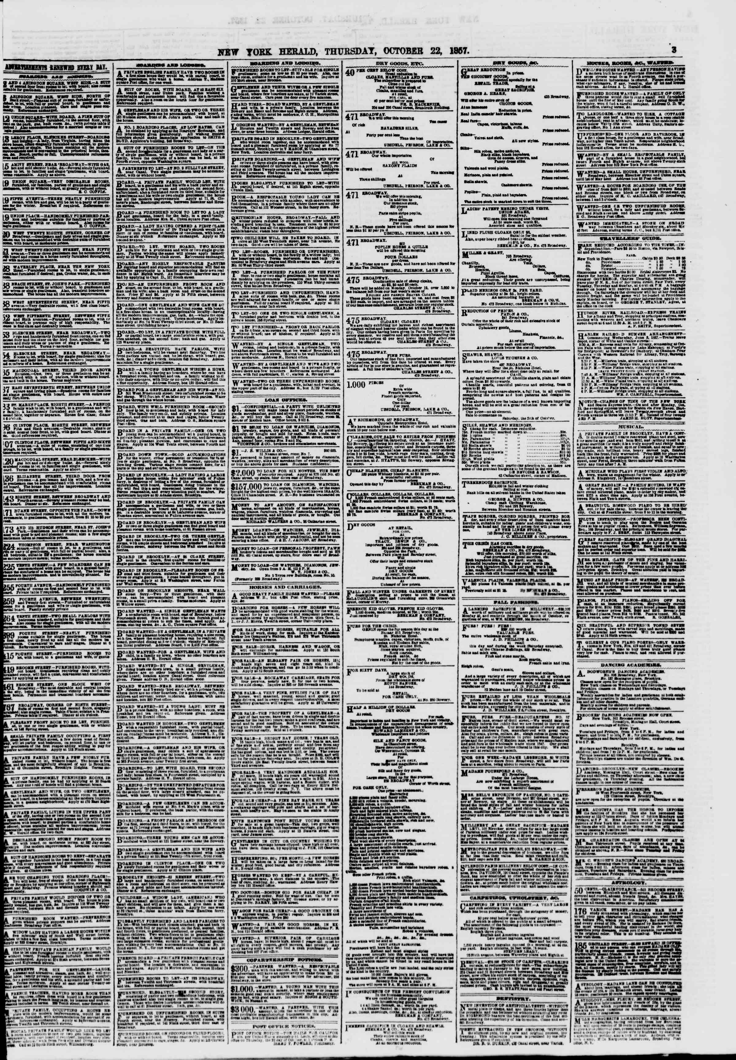 Newspaper of The New York Herald dated 22 Ekim 1857 Page 3