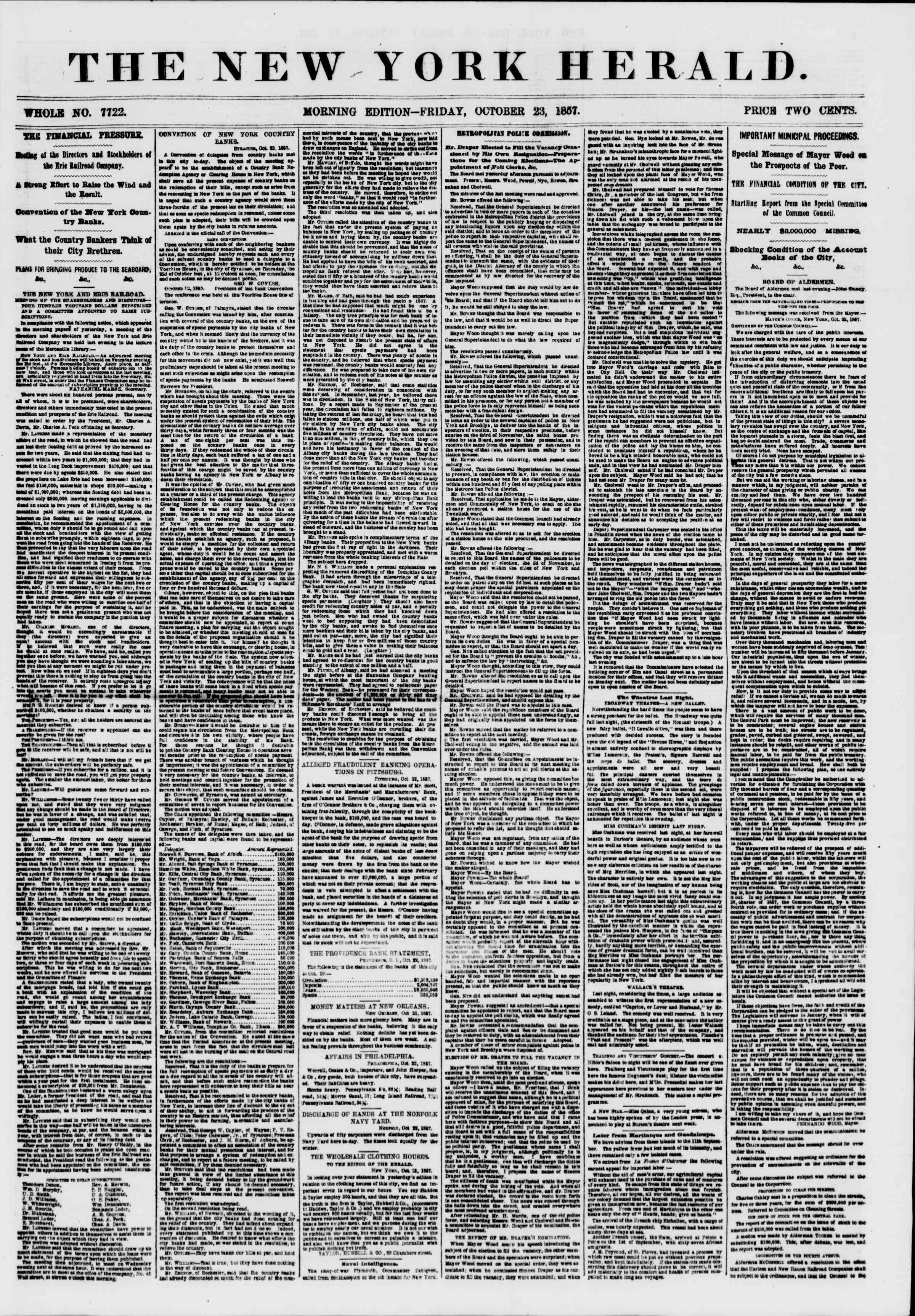 Newspaper of The New York Herald dated October 23, 1857 Page 1
