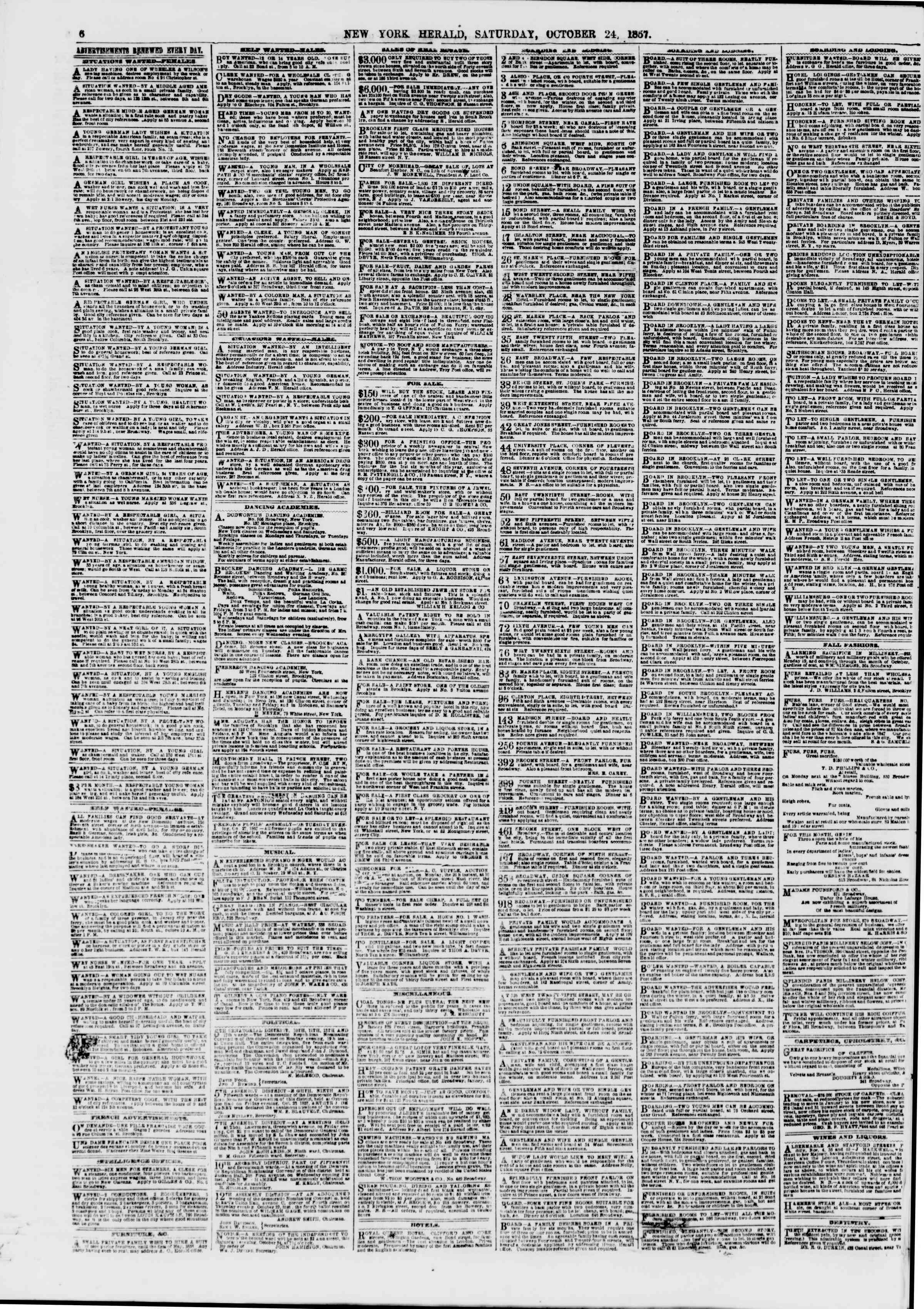 Newspaper of The New York Herald dated October 24, 1857 Page 6
