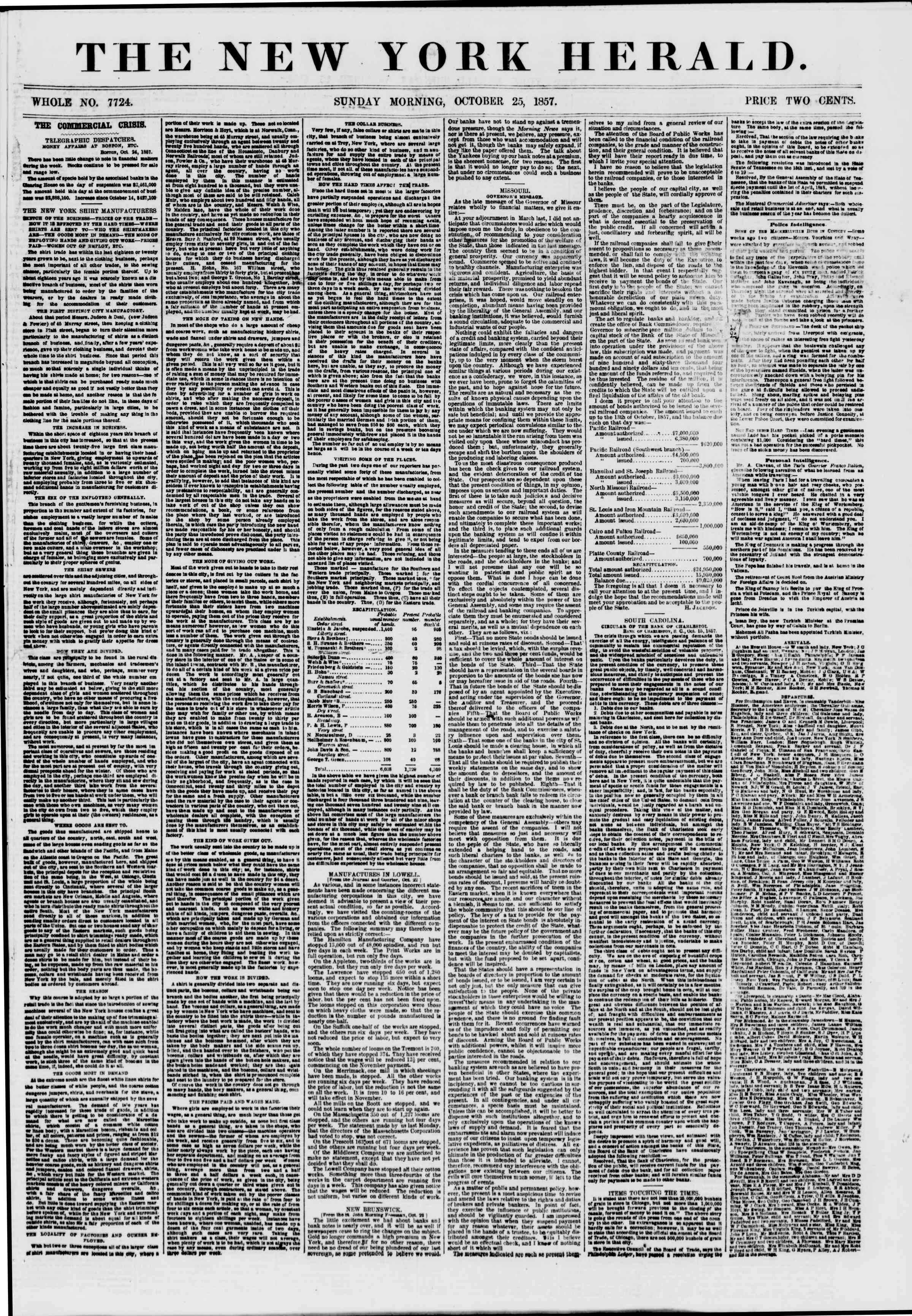 Newspaper of The New York Herald dated October 25, 1857 Page 1
