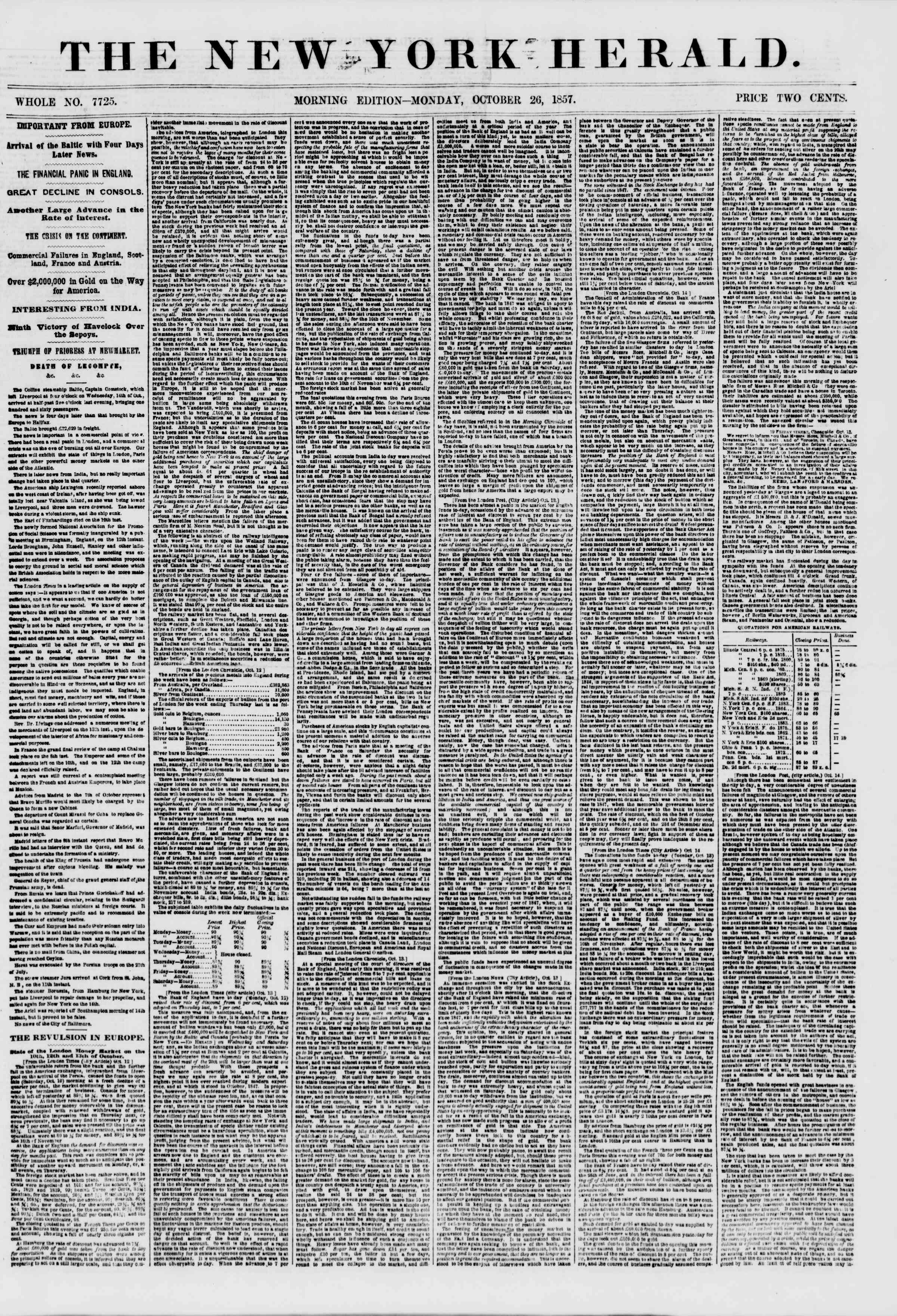 Newspaper of The New York Herald dated October 26, 1857 Page 1