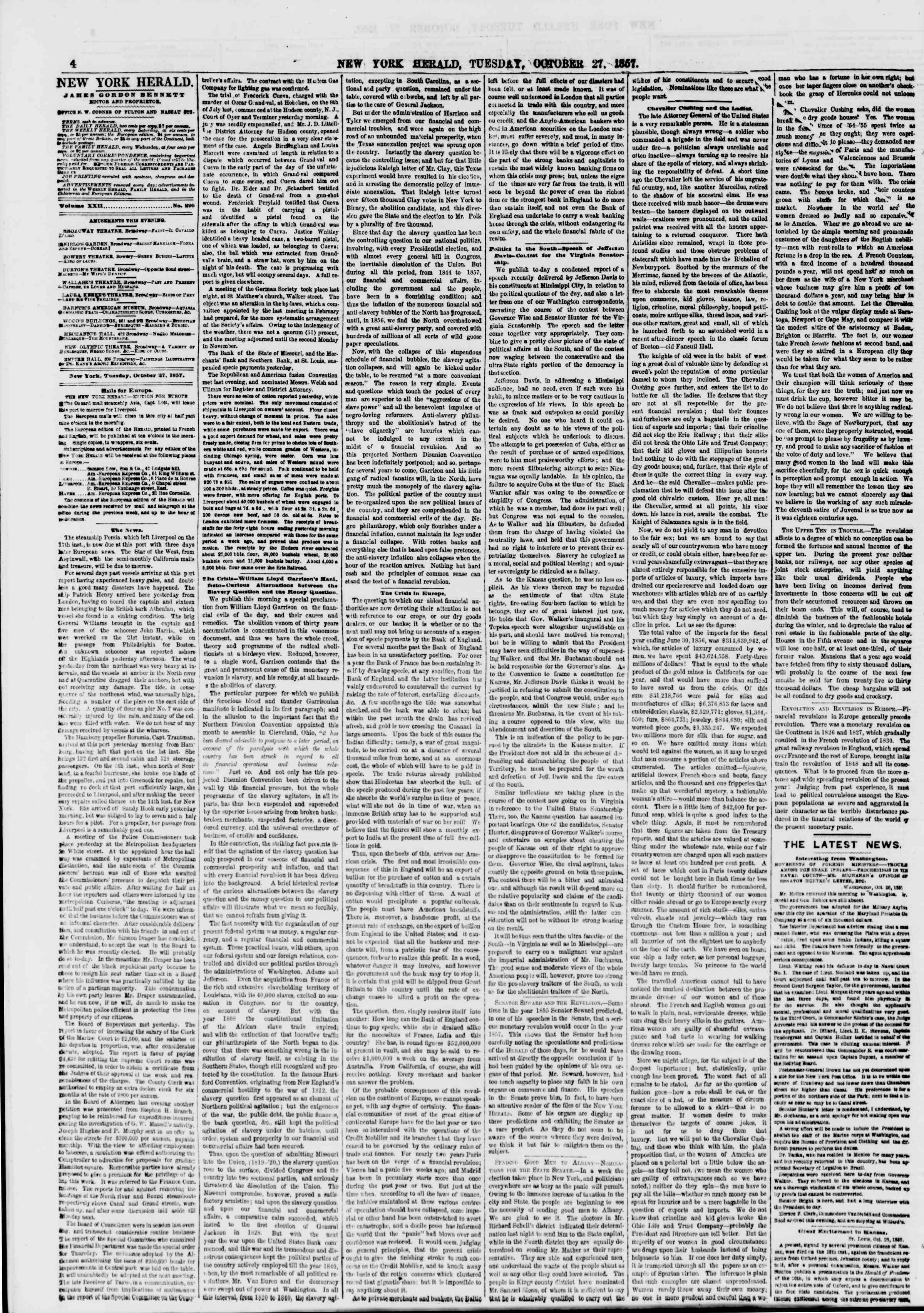 Newspaper of The New York Herald dated October 27, 1857 Page 4