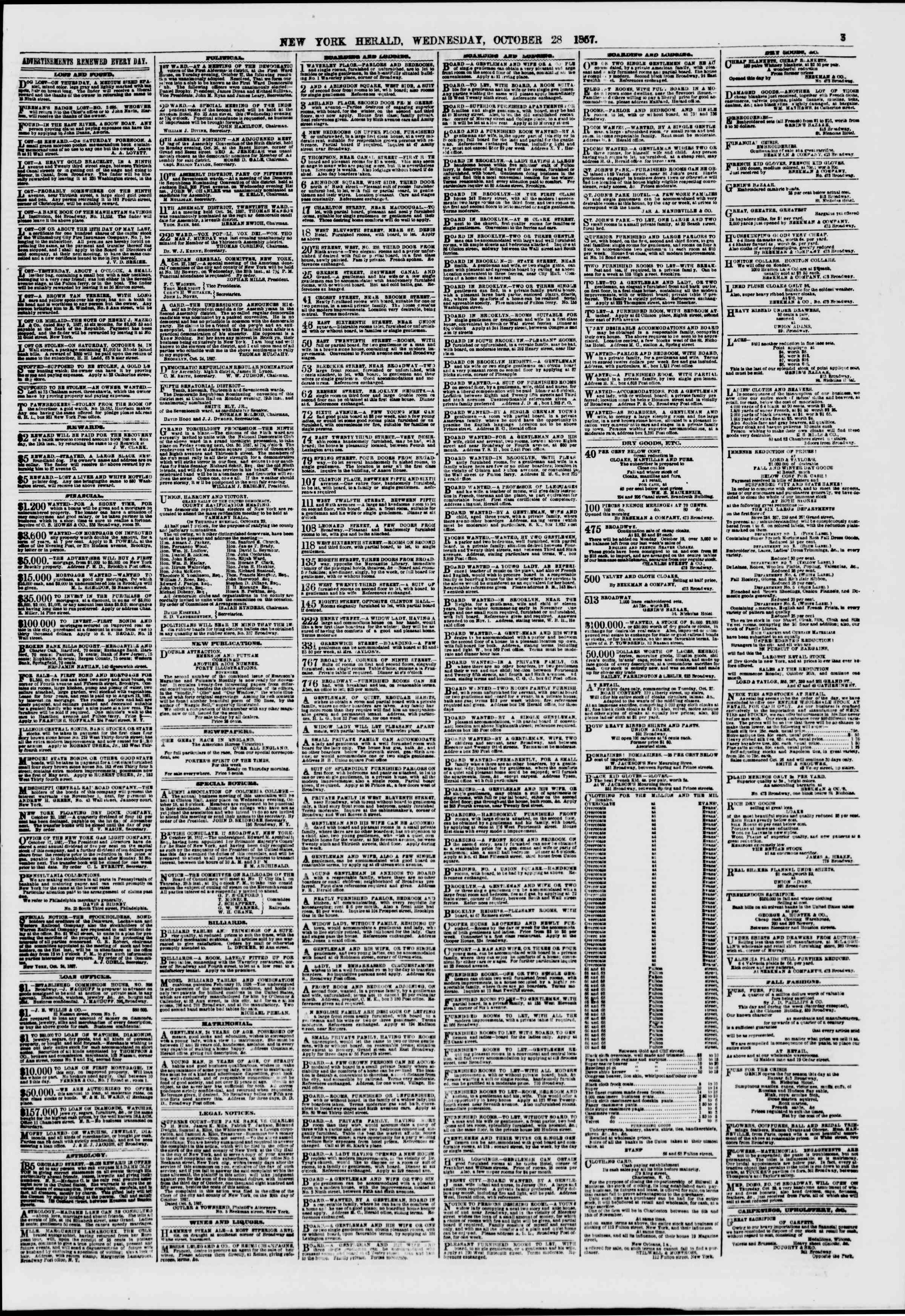 Newspaper of The New York Herald dated October 28, 1857 Page 3