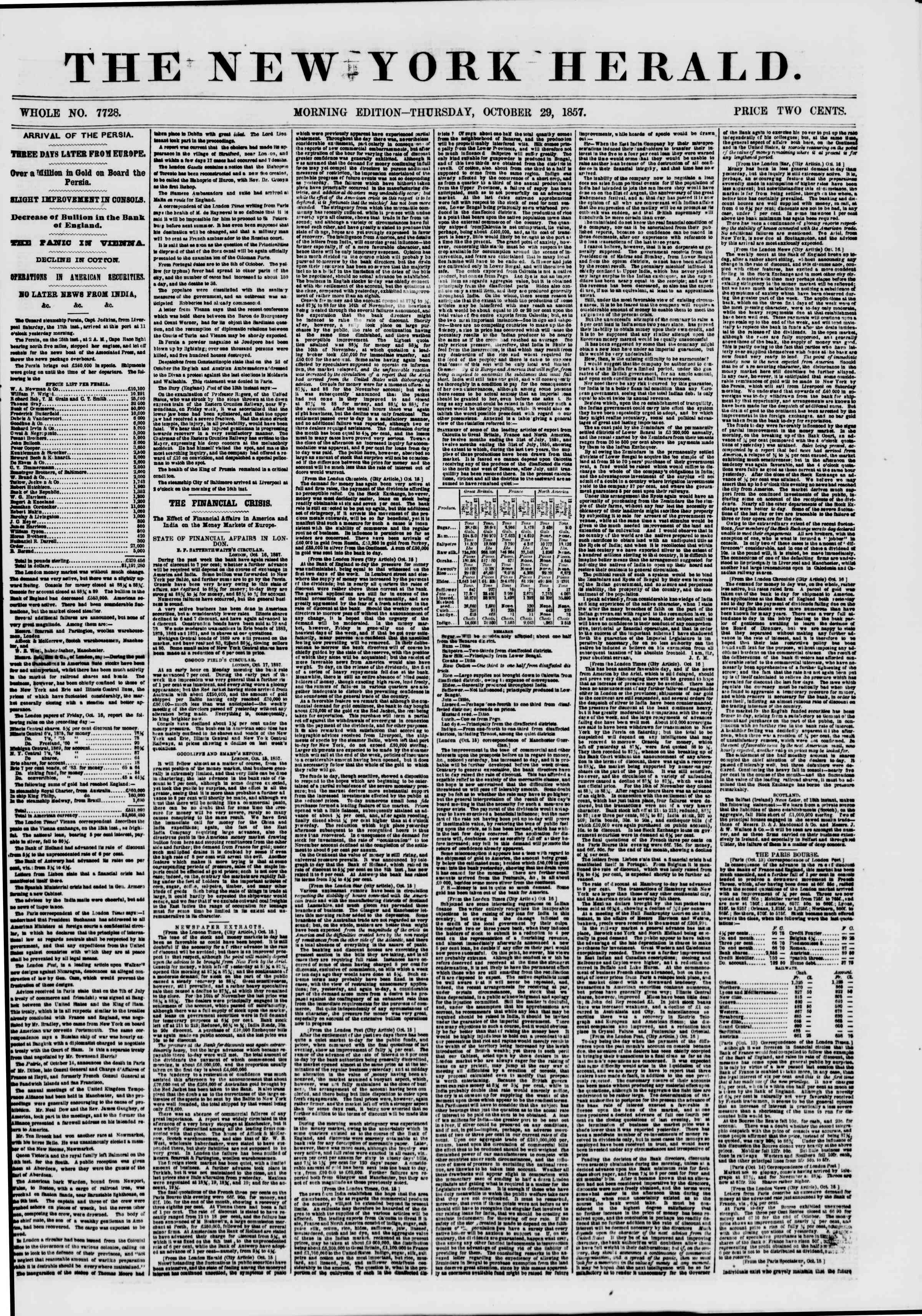 Newspaper of The New York Herald dated October 29, 1857 Page 1