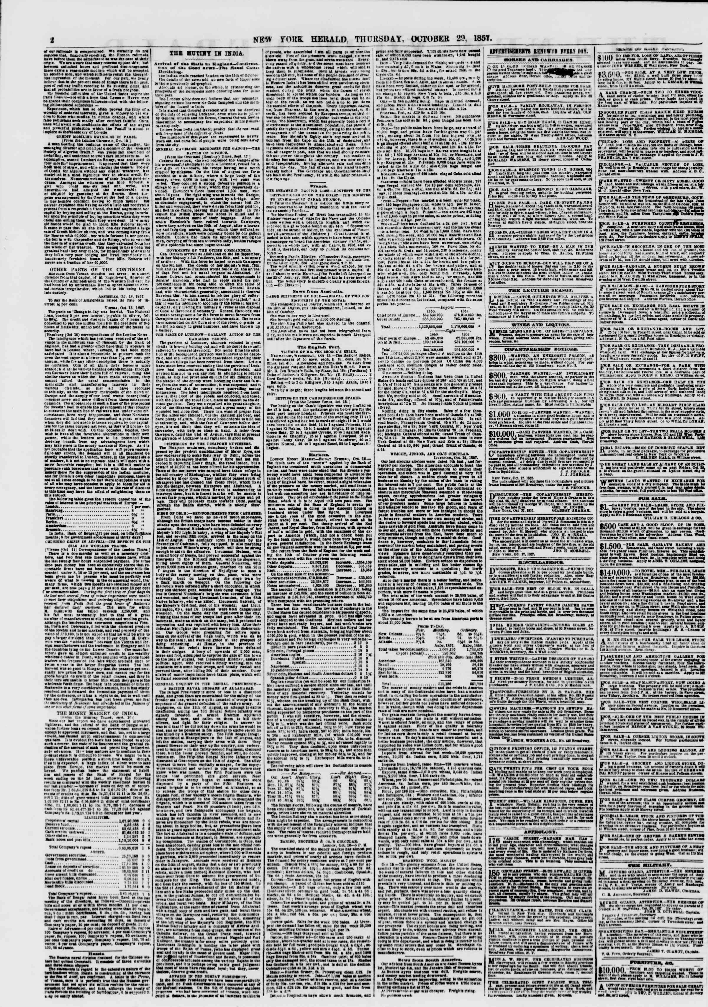Newspaper of The New York Herald dated October 29, 1857 Page 2