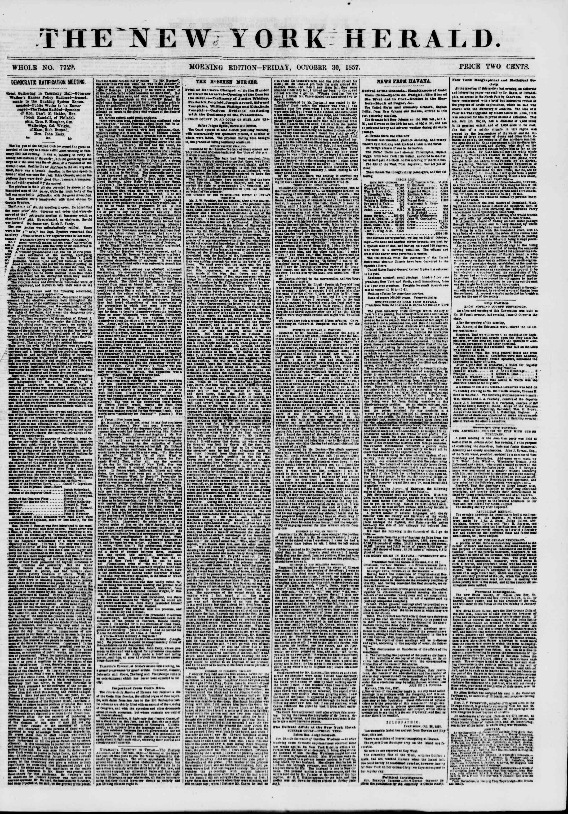 Newspaper of The New York Herald dated October 30, 1857 Page 1