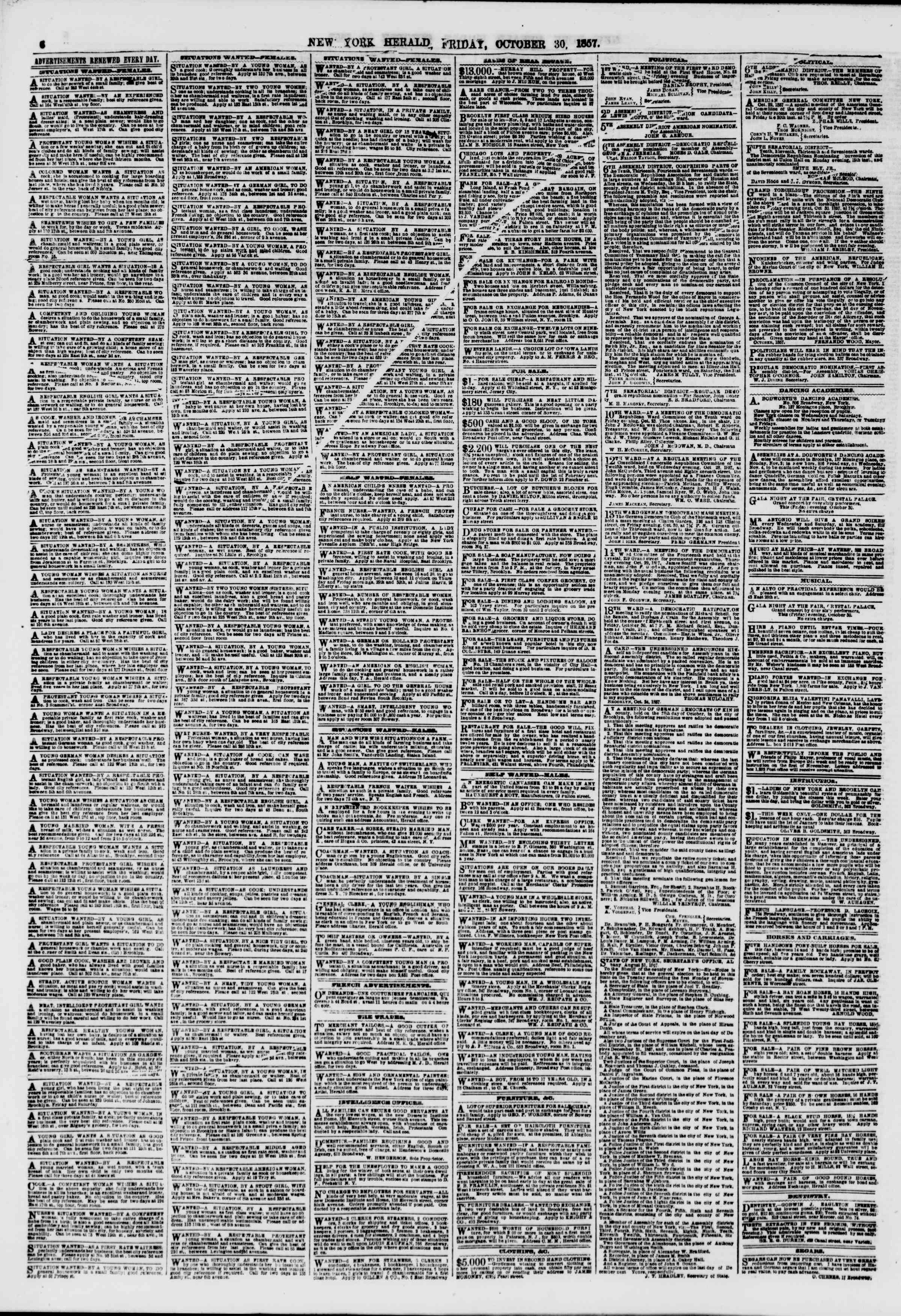 Newspaper of The New York Herald dated October 30, 1857 Page 6