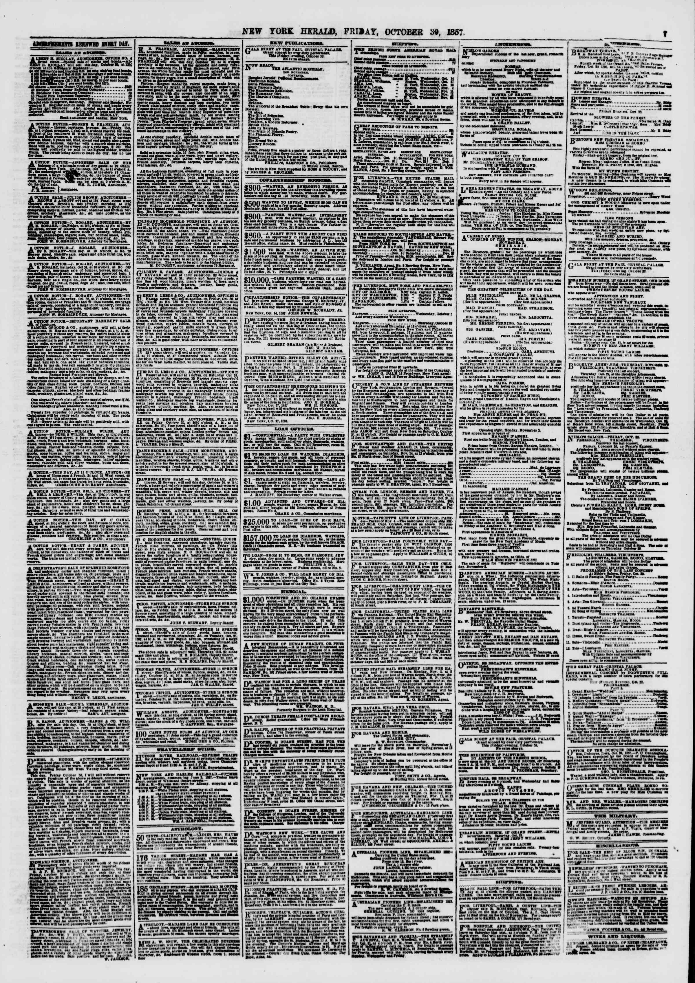 Newspaper of The New York Herald dated October 30, 1857 Page 7