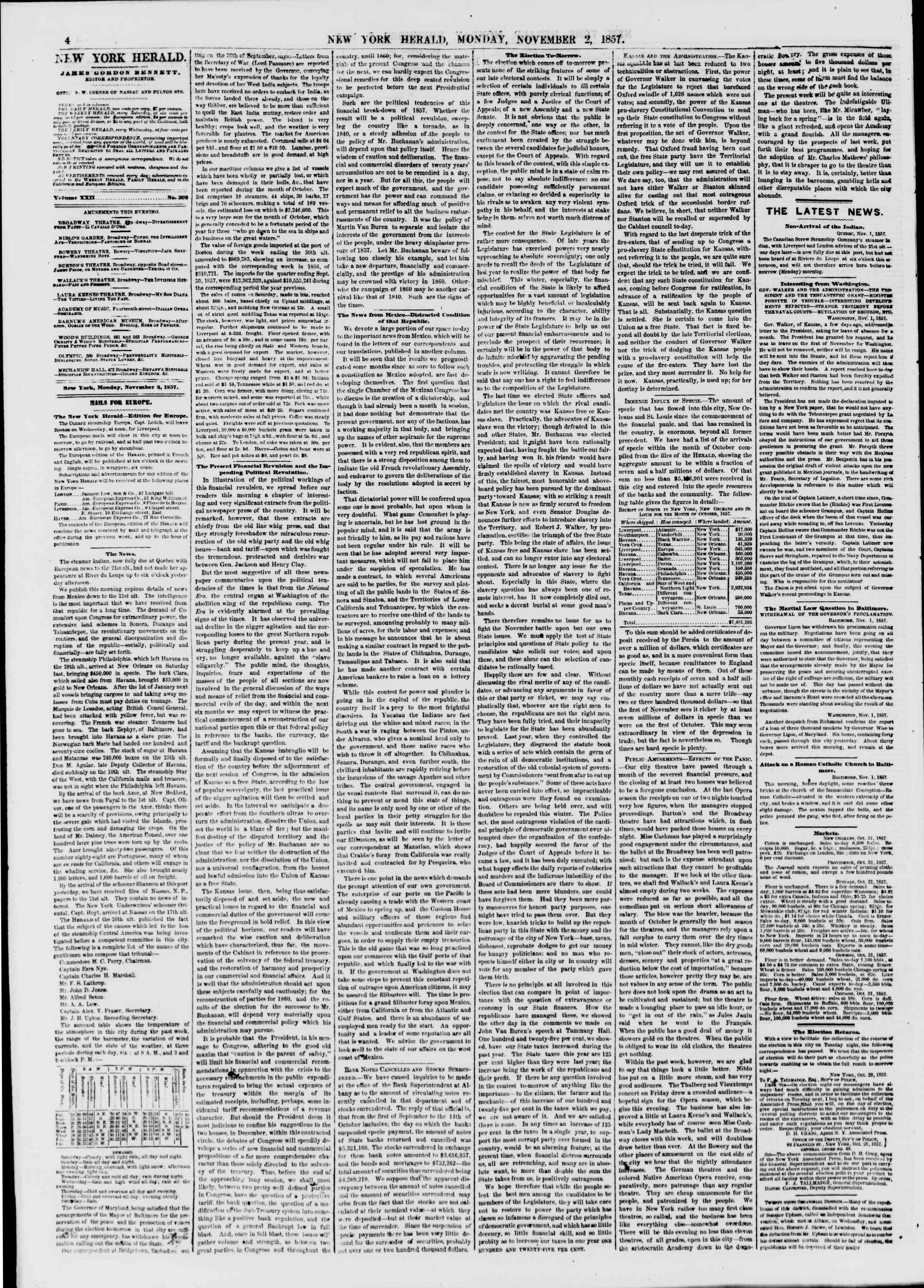 Newspaper of The New York Herald dated November 2, 1857 Page 4