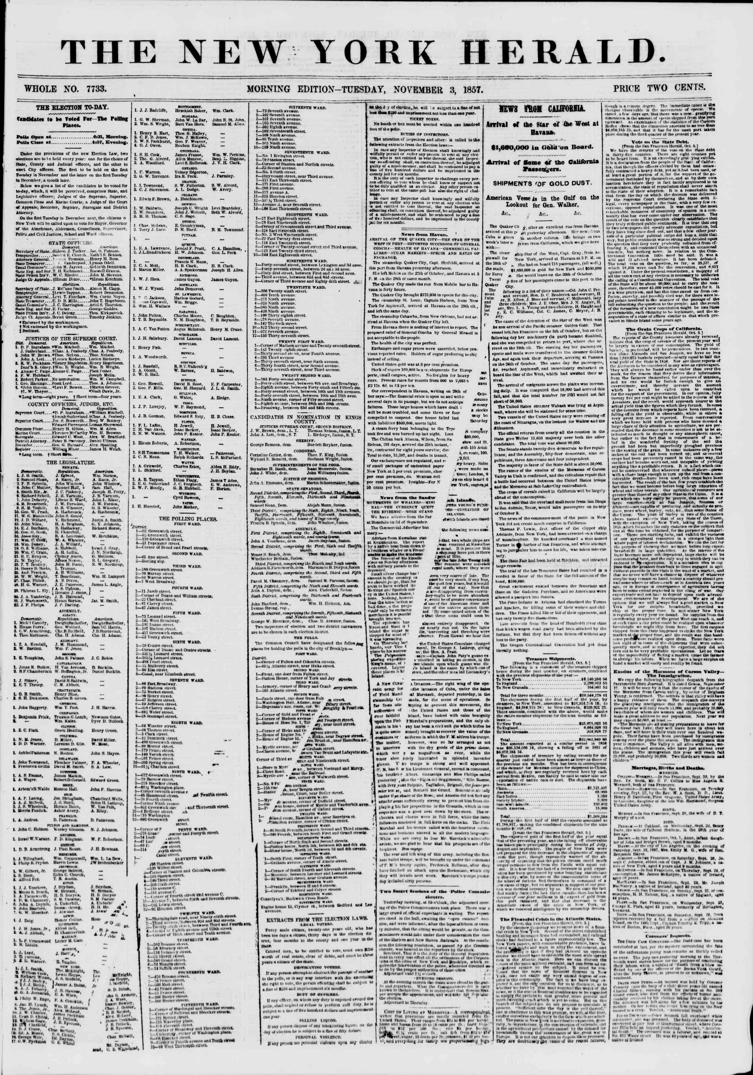 Newspaper of The New York Herald dated November 3, 1857 Page 1